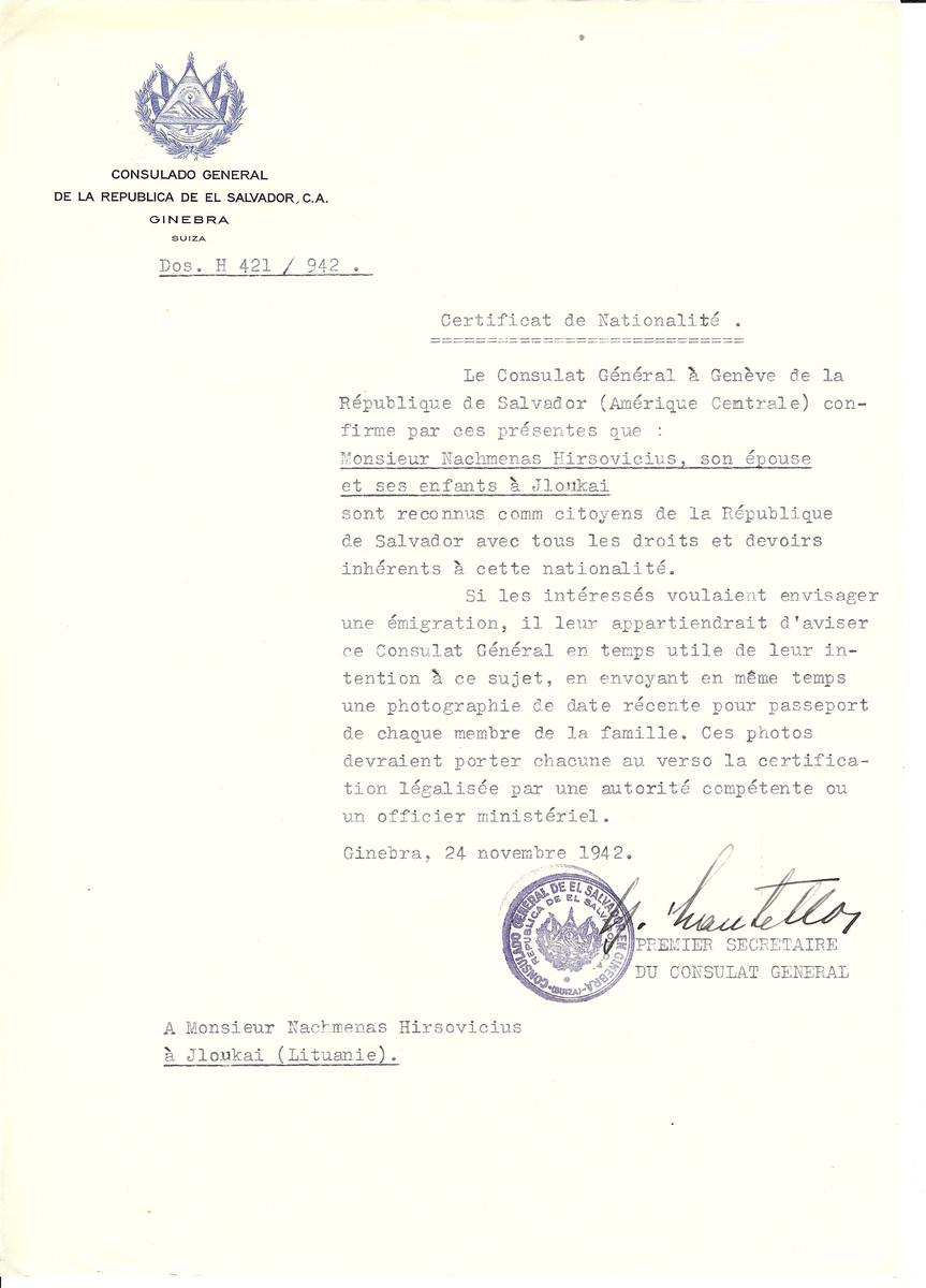 Unauthorized Salvadoran citizenship certificate made out to Nachmenas Hirsovicius, his wife and children by George Mandel-Mantello, First Secretary of the Salvadoran Consulate in Geneva and sent to them in Jloukai.