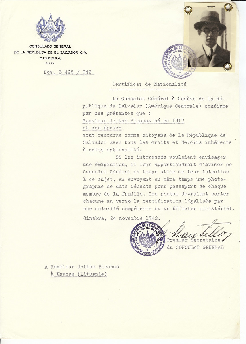 Unauthorized Salvadoran citizenship certificate made out to Jcikas Blochas (b. 1912) and his wife by George Mandel-Mantello, First Secretary of the Salvadoran Consulate in Geneva and sent to them in Kaunas