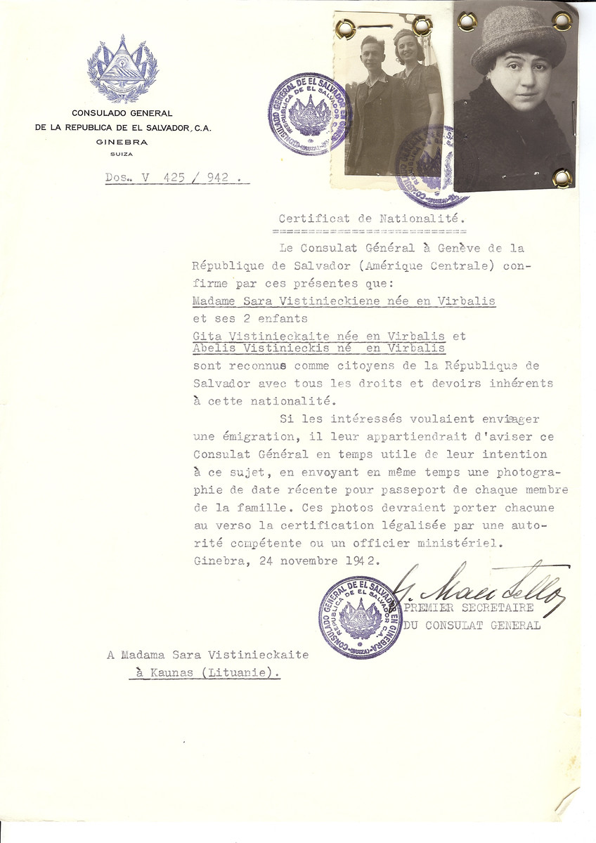 Unauthorized Salvadoran citizenship certificate made out to Sara Vistinieckiene (b. in Virbalis) and her children Gita and Abelis by George Mandel-Mantello, First Secretary of the Salvadoran Consulate in Geneva and sent to them in Kauas.