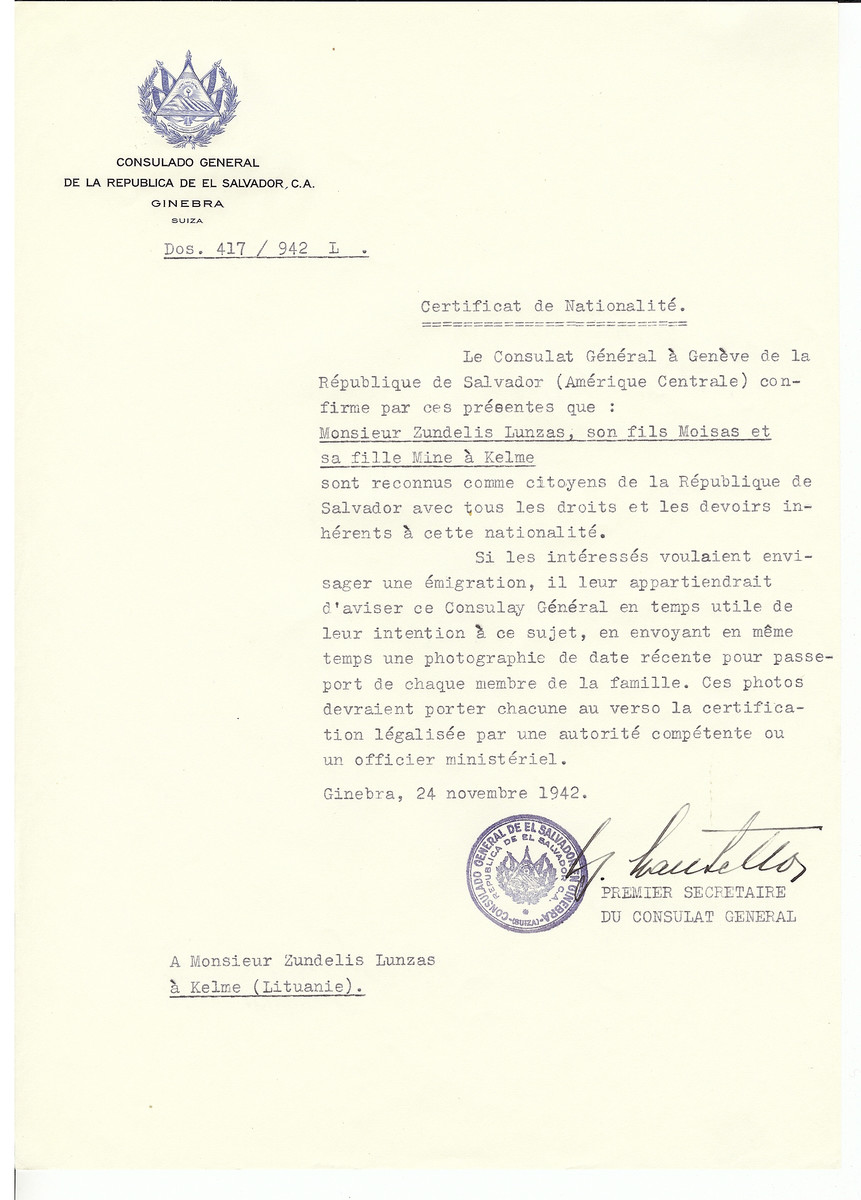 Unauthorized Salvadoran citizenship certificate made out to Zundelis Lunzas and his children Moisas and Mine by George Mandel-Mantello, First Secretary of the Salvadoran Consulate in Geneva and sent to them in Kelme.