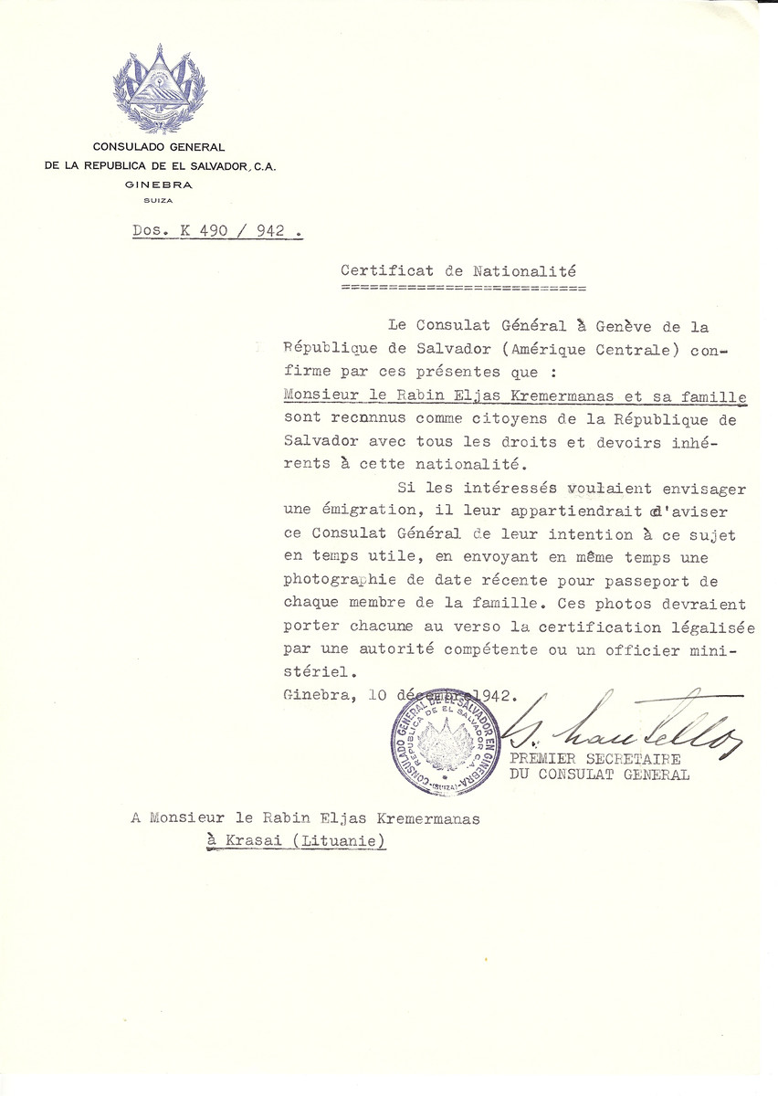 Unauthorized Salvadoran citizenship certificate made out to Rabbi Eljas Kremermanas and his family by George Mandel-Mantello, First Secretary of the Salvadoran Consulate in Geneva and sent to them in Ukmerge.