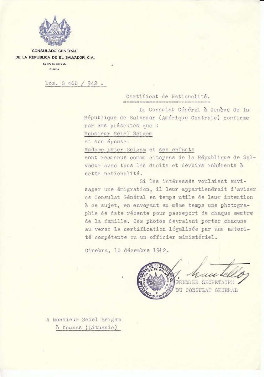 Unauthorized Salvadoran citizenship certificate made out to Seiel Seigam, his wife Ester Seigam and children by George Mandel-Mantello, First Secretary of the Salvadoran Consulate in Geneva and sent to them in Kaunas.