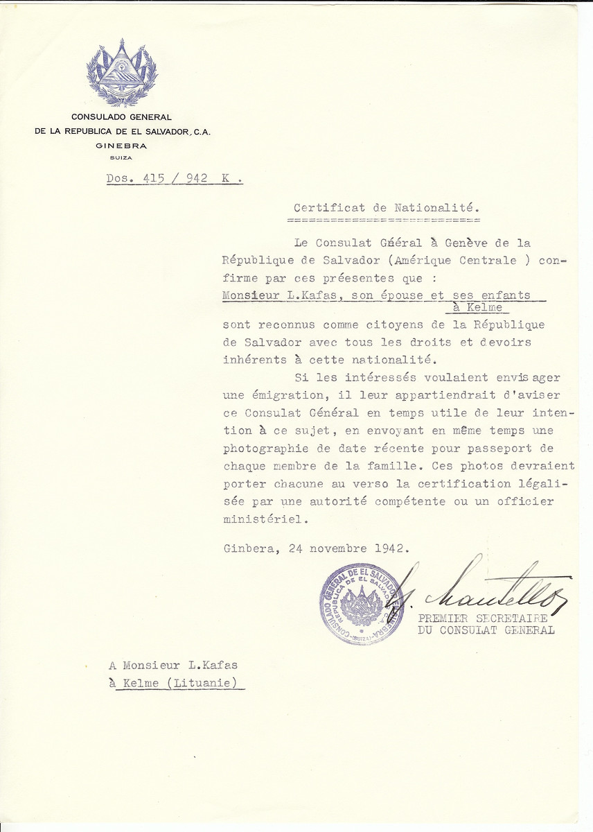 Unauthorized Salvadoran citizenship certificate made out to L. Kafas, his wife and children by George Mandel-Mantello, First Secretary of the Salvadoran Consulate in Geneva and sent to them in Kelme.