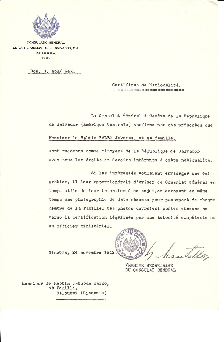 Unauthorized Salvadoran citizenship certificate made out to Rabbi Jakubas Ralbo and his family by George Mandel-Mantello, First Secretary of the Salvadoran Consulate in Geneva and sent to them in Saloucai.