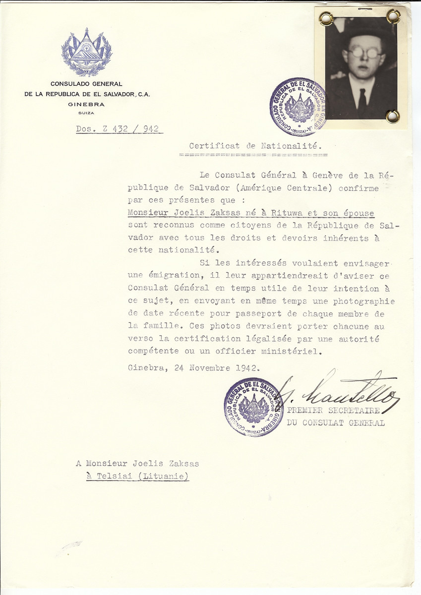 Unauthorized Salvadoran citizenship certificate made out to Joelis Zaksas (b. in Rituwa) and his wife by George Mandel-Mantello, First Secretary of the Salvadoran Consulate in Geneva and sent to them in Telsiai.