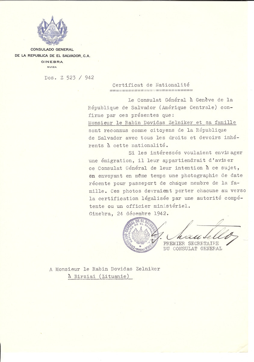 Unauthorized Salvadoran citizenship certificate made out to Rabbi Dovidas Zelniker and his family by George Mandel-Mantello, First Secretary of the Salvadoran Consulate in Geneva and sent to them in Birziai.