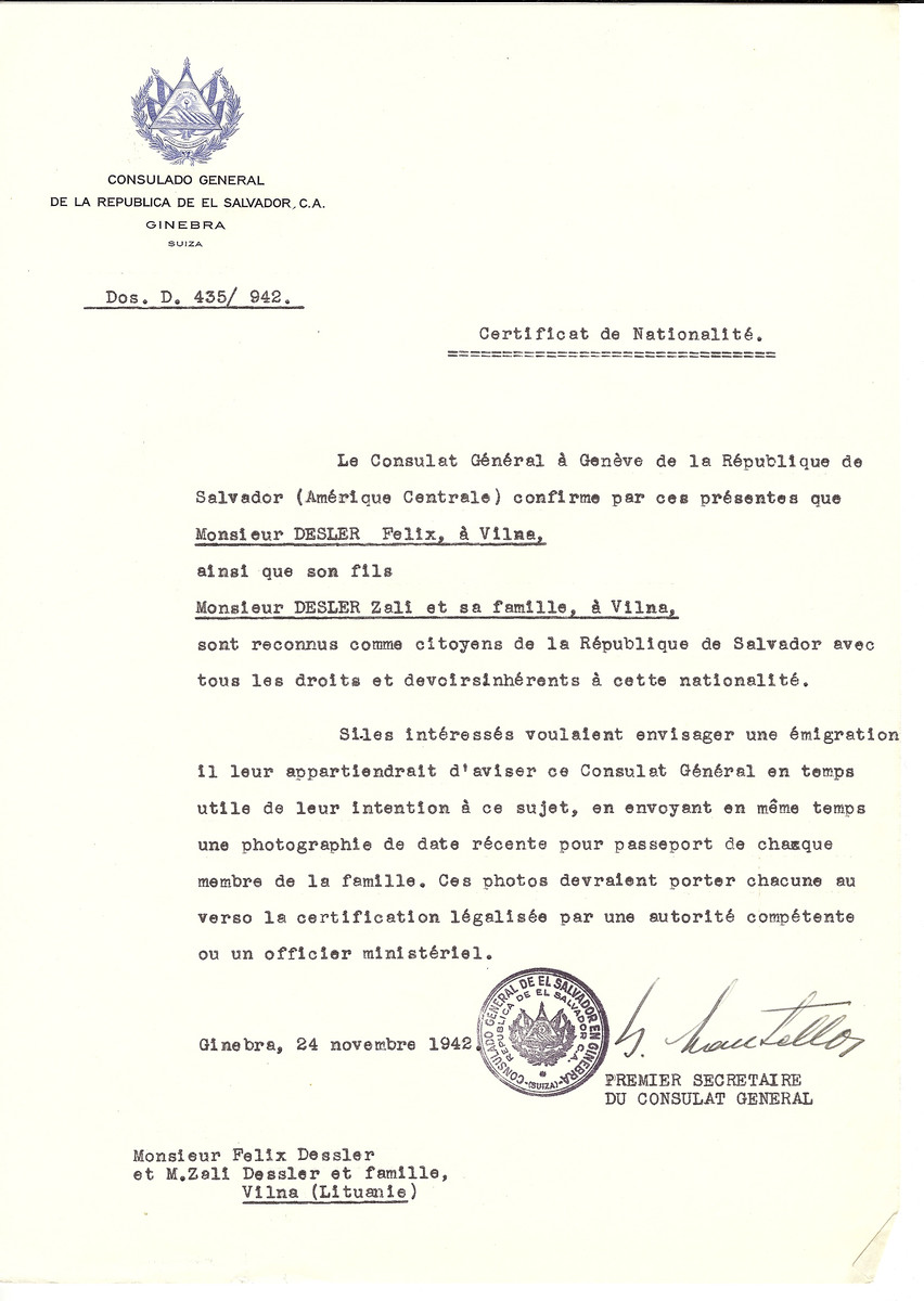 Unauthorized Salvadoran citizenship certificate made out to Felix Dresler and his son Zeli Dresler and his children by George Mandel-Mantello, First Secretary of the Salvadoran Consulate in Geneva and sent to them in Vilna.