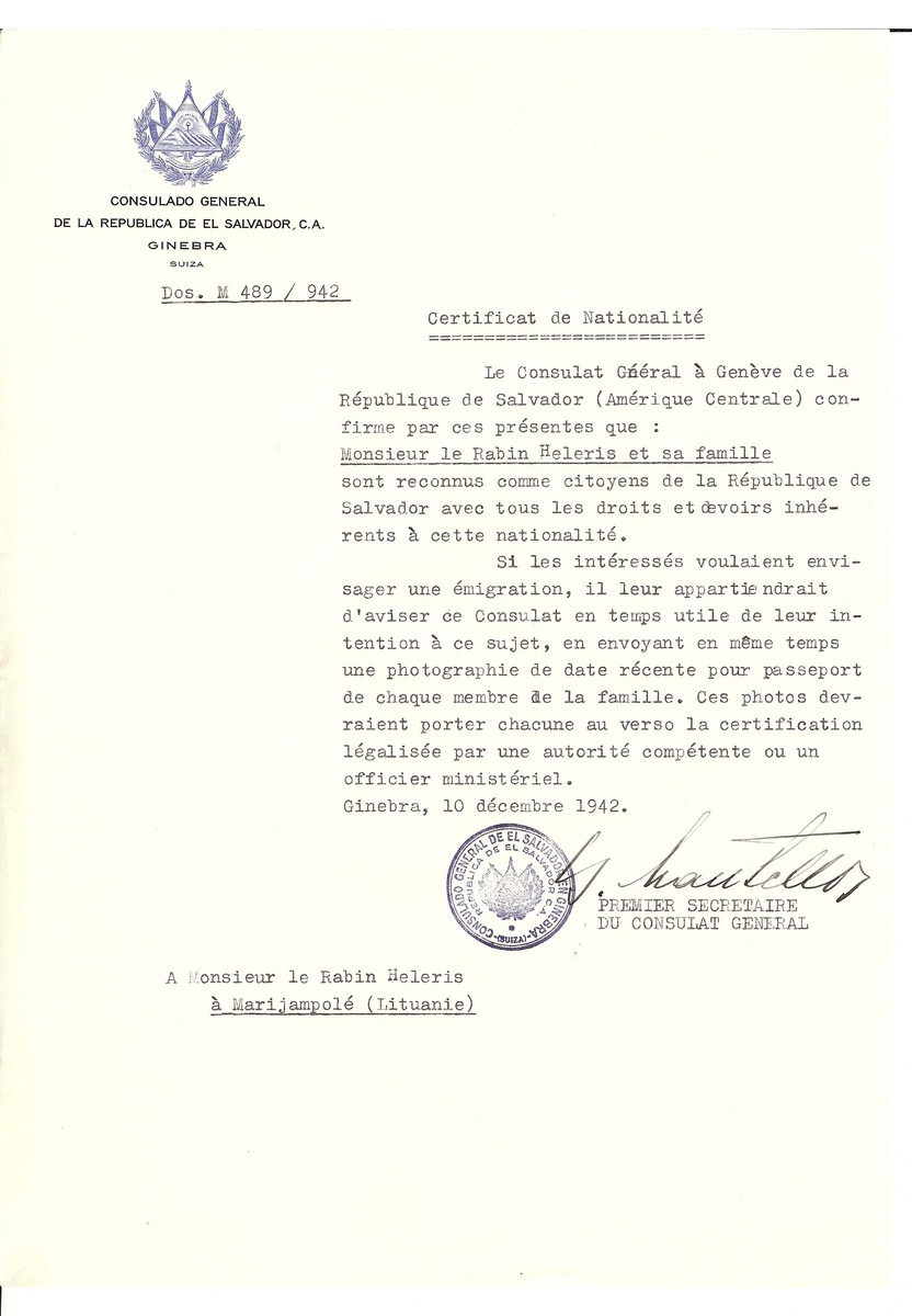 Unauthorized Salvadoran citizenship certificate made out to Rabbi Heleris and his family by George Mandel-Mantello, First Secretary of the Salvadoran Consulate in Geneva and sent to them in Marijampole.