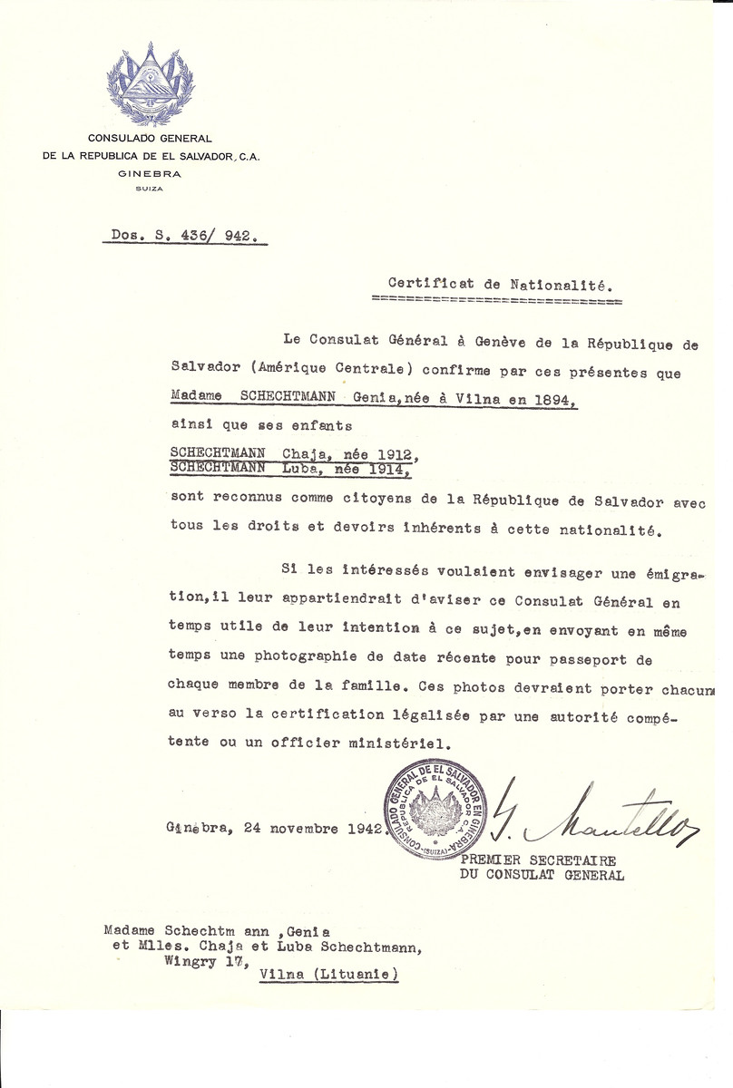 Unauthorized Salvadoran citizenship certificate made out to Genia Schechtmann (b. Vilna, 1894) and her children Chaja (b. 1912) and Luba (b. 1914) by George Mandel-Mantello, First Secretary of the Salvadoran Consulate in Geneva and sent to them in Vilna.