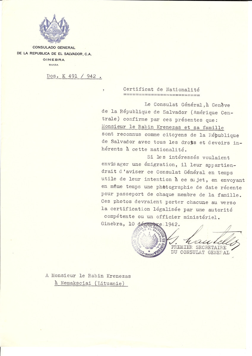 Unauthorized Salvadoran citizenship certificate made out to Rabbi Krenezas and his family by George Mandel-Mantello, First Secretary of the Salvadoran Consulate in Geneva and sent to them in Ukmerge.