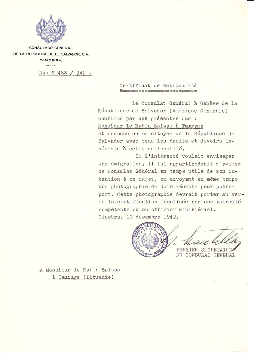 Unauthorized Salvadoran citizenship certificate made out to Rabbi Spizas by George Mandel-Mantello, First Secretary of the Salvadoran Consulate in Geneva and sent to him in Taurage.