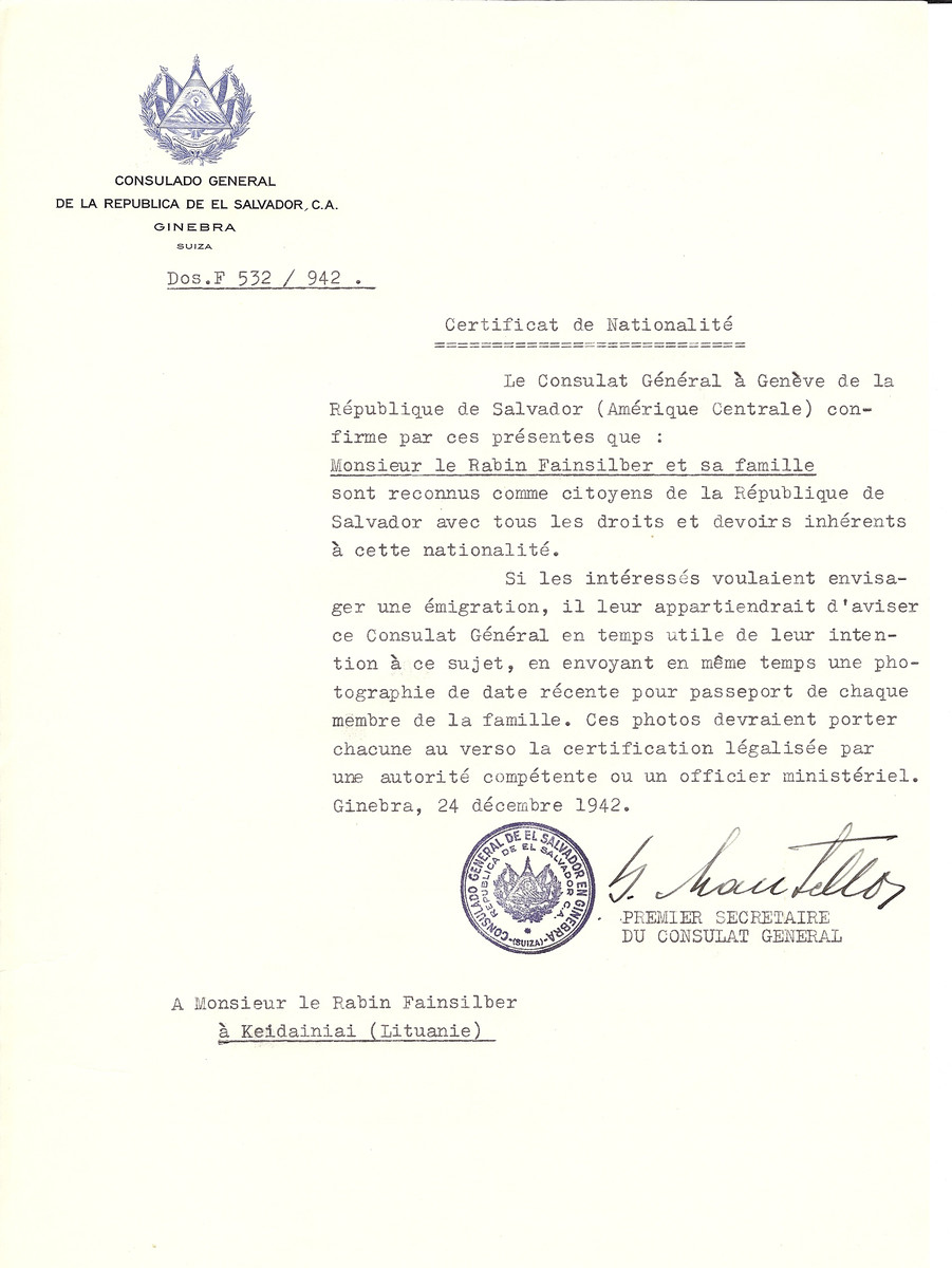 Unauthorized Salvadoran citizenship certificate made out to Rabbi Fainsilber and his family by George Mandel-Mantello, First Secretary of the Salvadoran Consulate in Geneva and sent to them in Kaidan.