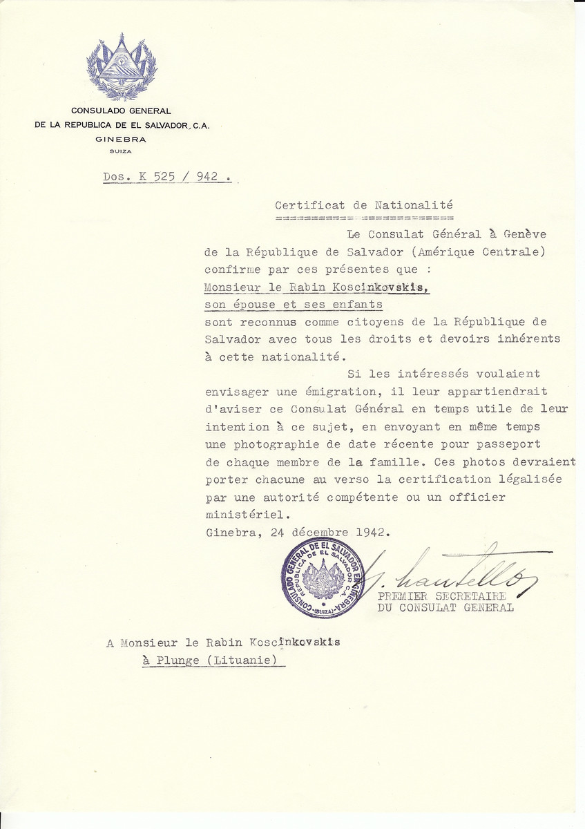 Unauthorized Salvadoran citizenship certificate made out to Rabbi Koscinkovskis, his wife and children by George Mandel-Mantello, First Secretary of the Salvadoran Consulate in Geneva and sent to them in Plunge.
