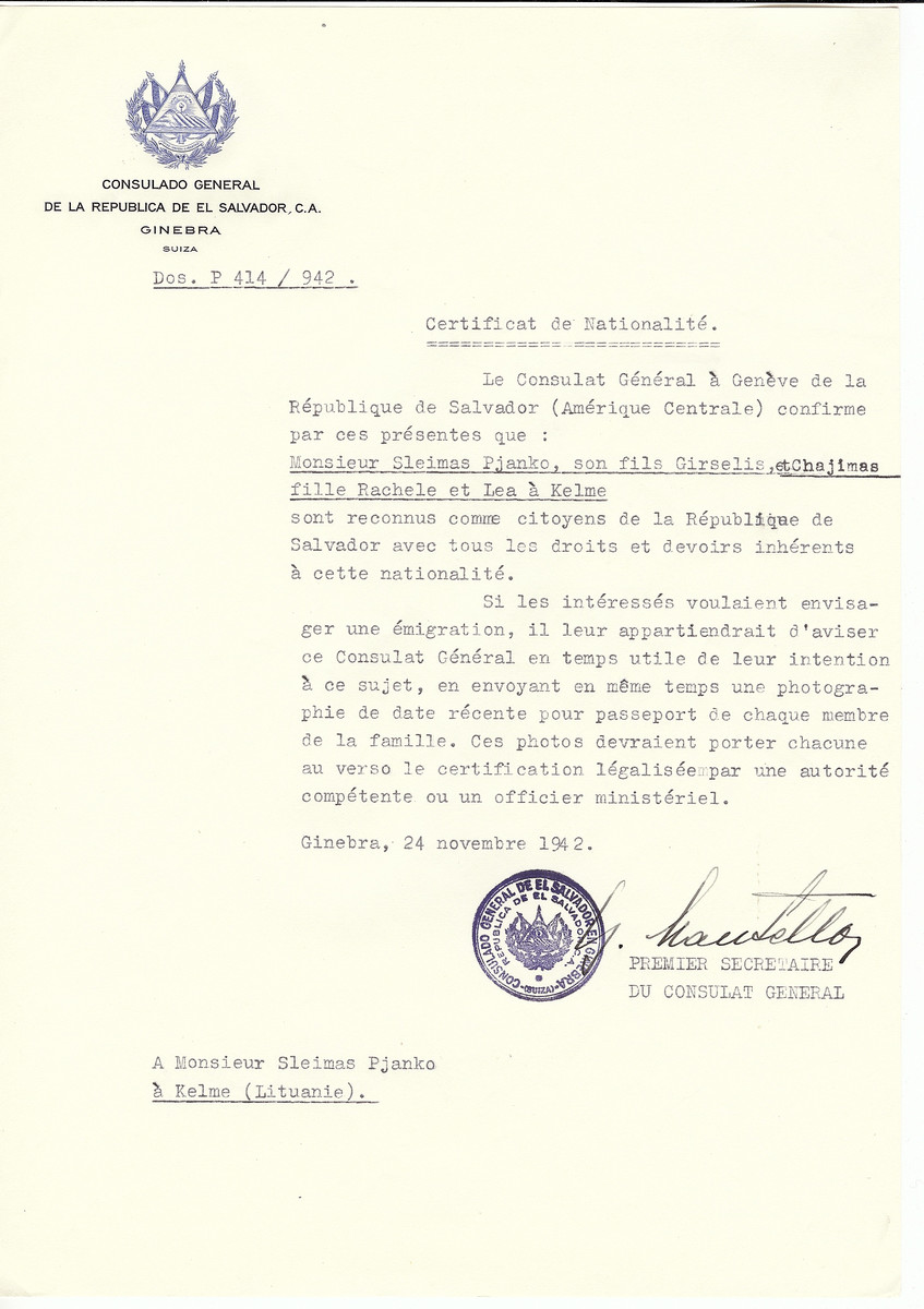 Unauthorized Salvadoran citizenship certificate made out to Sleimas Pjanko and his children Girselis, Chajimas, Rachele and Lea by George Mandel-Mantello, First Secretary of the Salvadoran Consulate in Geneva and sent to them in Kelme.