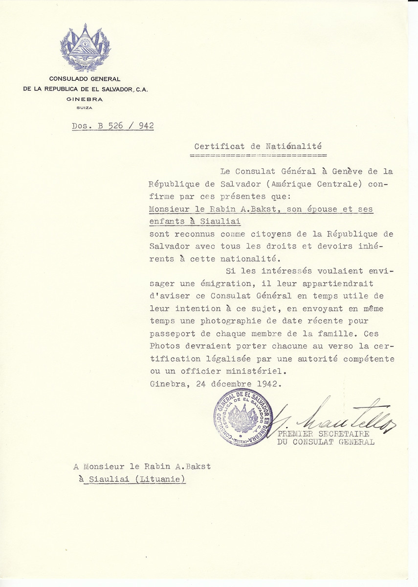 Unauthorized Salvadoran citizenship certificate made out to Rabbi A. Bakst, his wife and children by George Mandel-Mantello, First Secretary of the Salvadoran Consulate in Geneva and sent to them in Siauliai.
