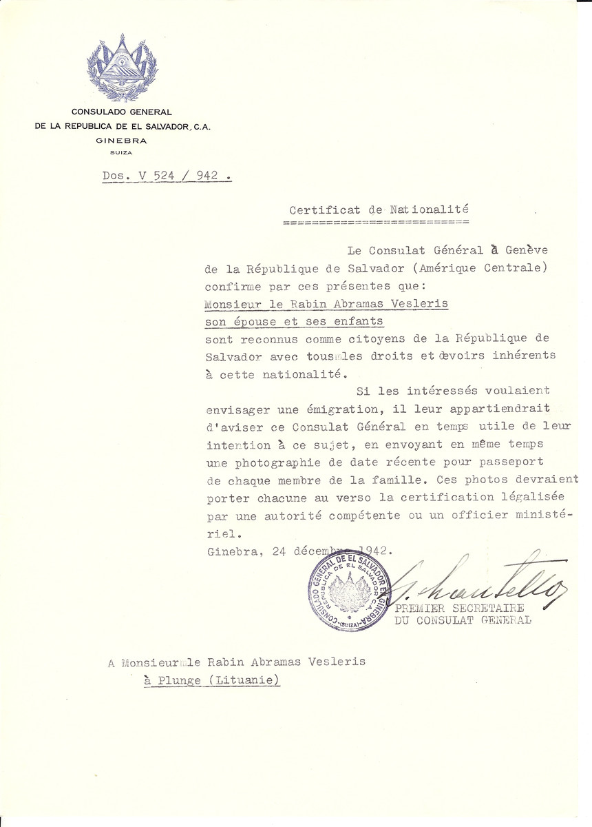 Unauthorized Salvadoran citizenship certificate made out to Rabbi Abramas Vesleris, his wife and children by George Mandel-Mantello, First Secretary of the Salvadoran Consulate in Geneva and sent to them in Plunge.