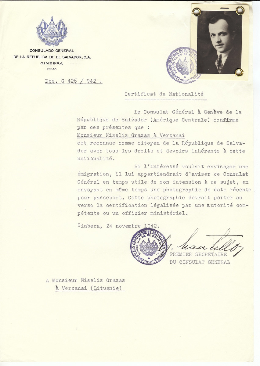 Unauthorized Salvadoran citizenship certificate made out to Niselis Grazas by George Mandel-Mantello, First Secretary of the Salvadoran Consulate in Geneva and sent to them in Ukmerge.