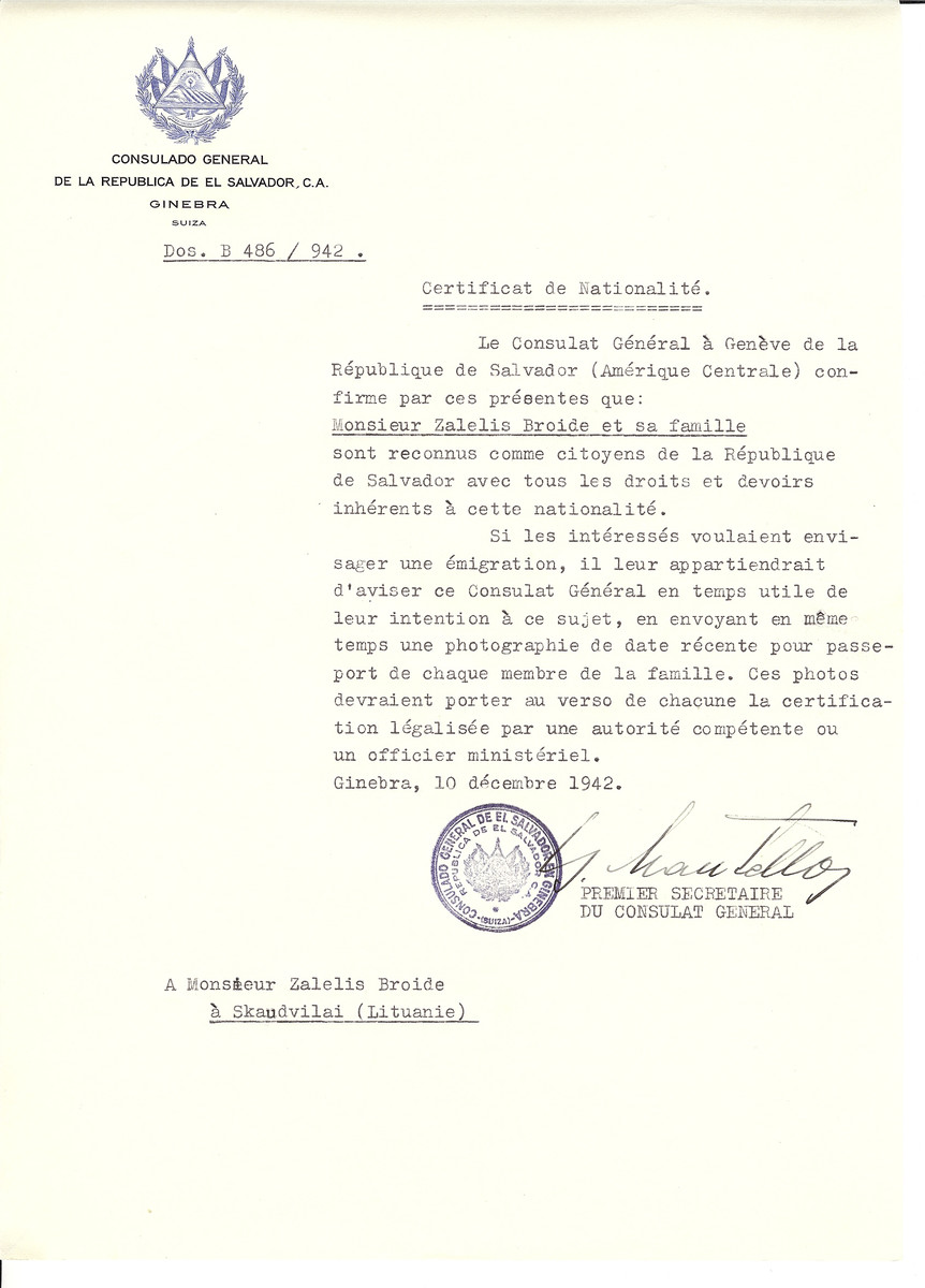Unauthorized Salvadoran citizenship certificate made out to Zalesis Broide and his family by George Mandel-Mantello, First Secretary of the Salvadoran Consulate in Geneva and sent to them in Skaudvilai.