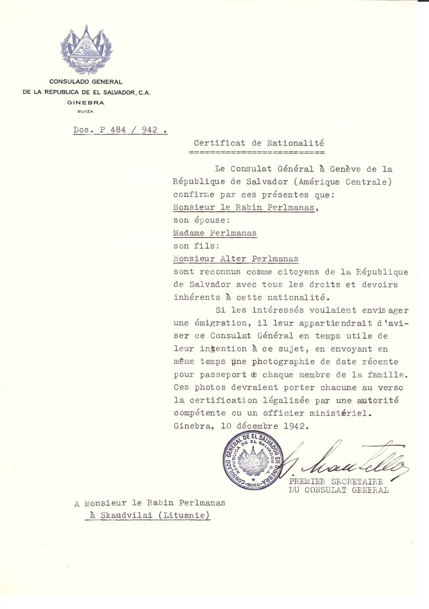 Unauthorized Salvadoran citizenship certificate made out to Rabbi Perlmanas, his wife and son Alter by George Mandel-Mantello, First Secretary of the Salvadoran Consulate in Geneva and sent to them in Skaudvilai.