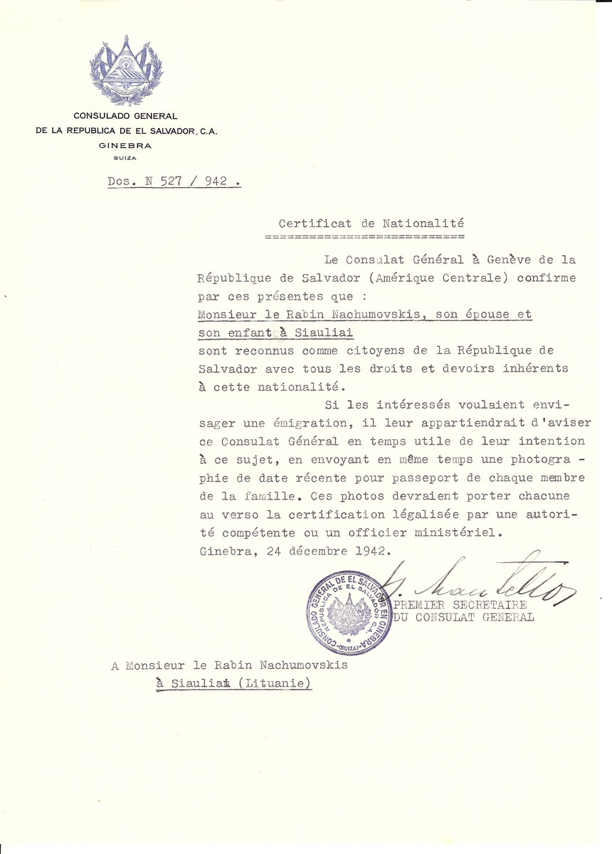 Unauthorized Salvadoran citizenship certificate made out to Rabbi Nachumovskis, his wife and son by George Mandel-Mantello, First Secretary of the Salvadoran Consulate in Geneva and sent to them in Siauliai.
