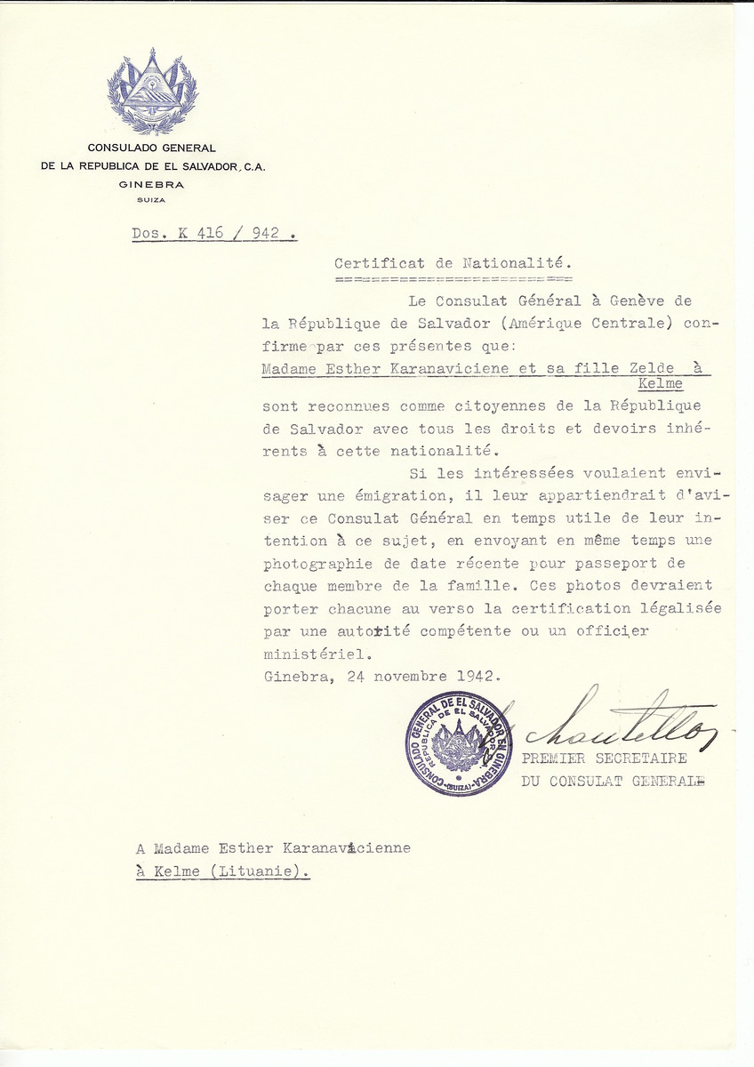 Unauthorized Salvadoran citizenship certificate made out to Esther Karanaviciene and her daughter Zelde by George Mandel-Mantello, First Secretary of the Salvadoran Consulate in Geneva and sent to them in Kelme.