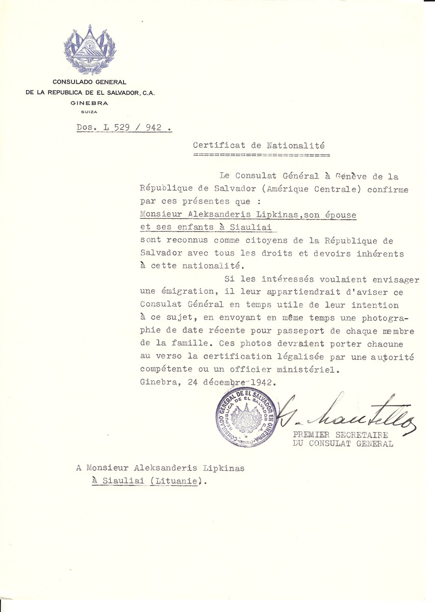 Unauthorized Salvadoran citizenship certificate made out to Aleksanderis Lipkinas, his wife and children by George Mandel-Mantello, First Secretary of the Salvadoran Consulate in Geneva and sent to them in Siauliai.
