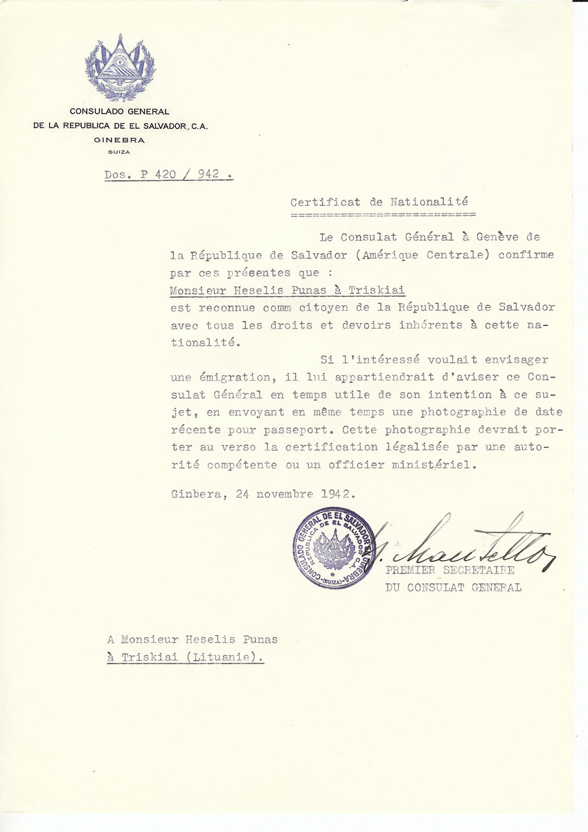 Unauthorized Salvadoran citizenship certificate made out to Heselis Punas by George Mandel-Mantello, First Secretary of the Salvadoran Consulate in Geneva and sent to them in Triskiai.