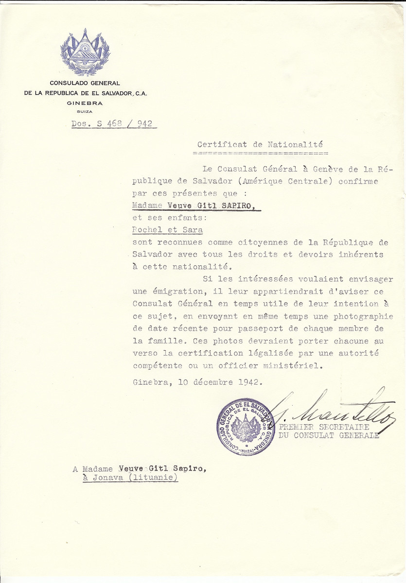 Unauthorized Salvadoran citizenship certificate made out to Gitl Sapiro and her children Rochel and Sara by George Mandel-Mantello, First Secretary of the Salvadoran Consulate in Geneva and sent to them in Janova.