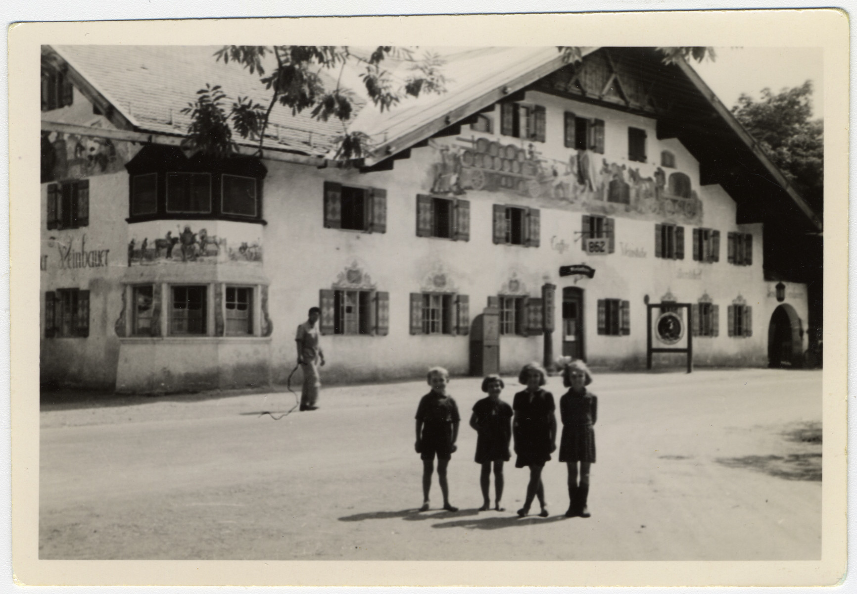 View of a rest home in Schongau Germany frequented by American soldiers.