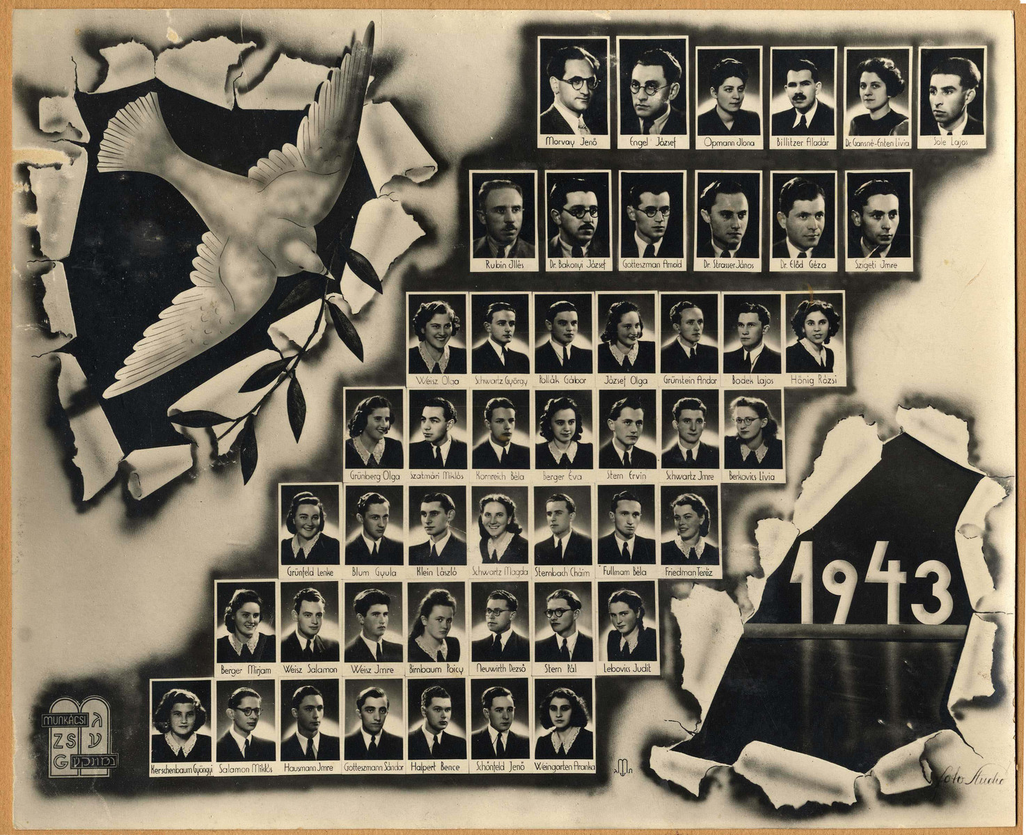 This 1943 composite picture shows the last graduating class of the Jewish Gymnasium in Munkacs.  Olga Weisz (later Wachtenheim) is pictured in the class photo.