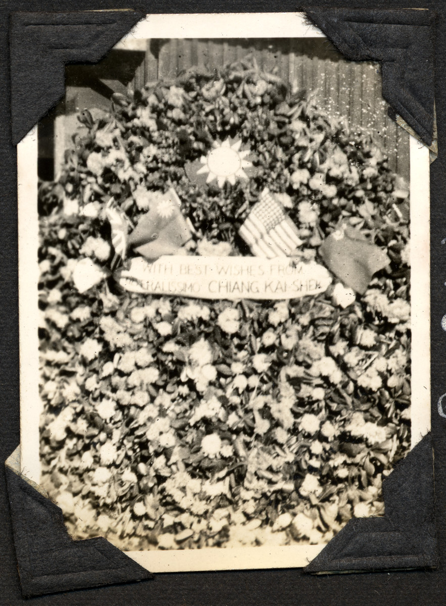 Bouquet of flowers sent to internees in the Ash Colony from Generalisimo Chiang Kai-Shek.