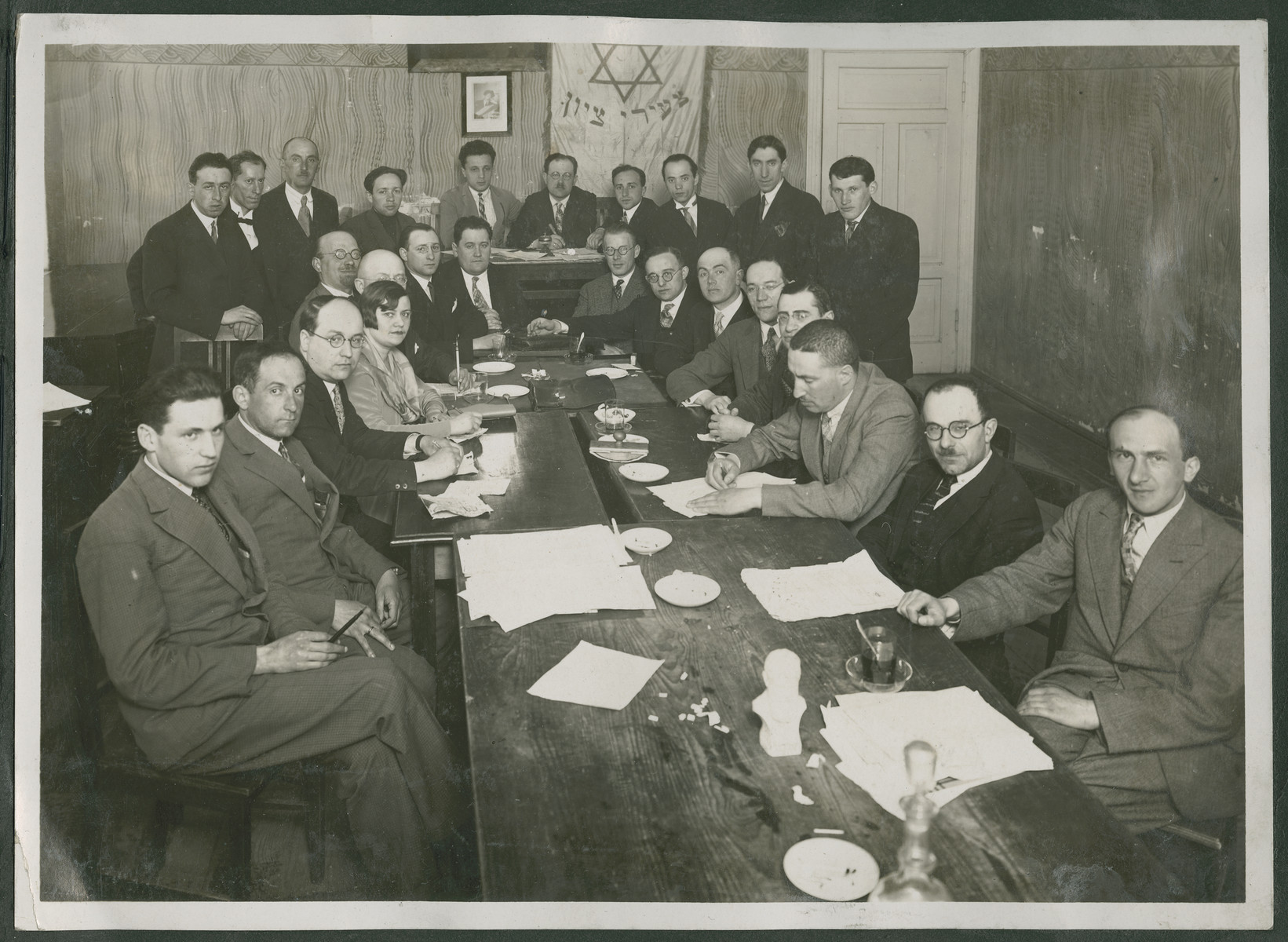 Meeting of a prewar Zionist group in either Lithuania or Latvia.  Samuel gotz is at the lower table at the top, center left.