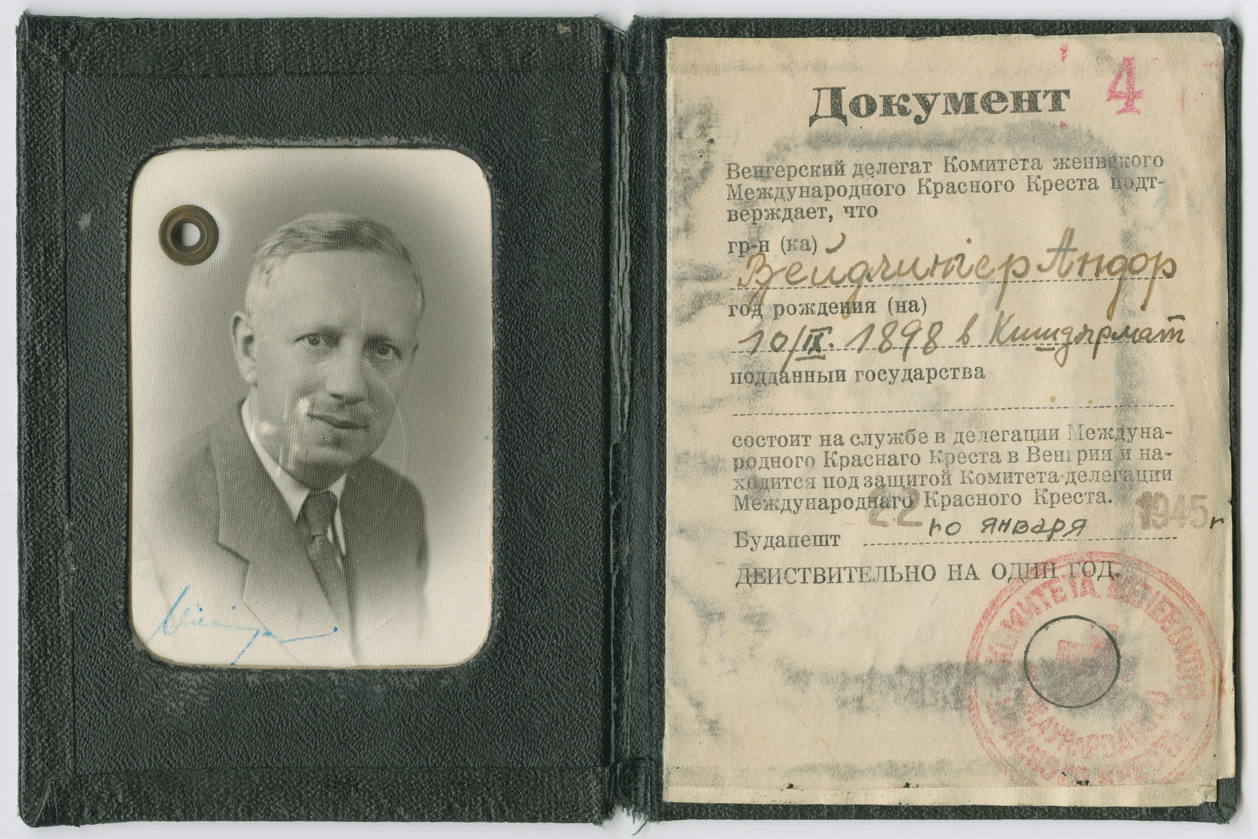 Identification card initially issued to Andor Weidlinger by the Swiss Red Cross and then reissued by Soviet authorities.