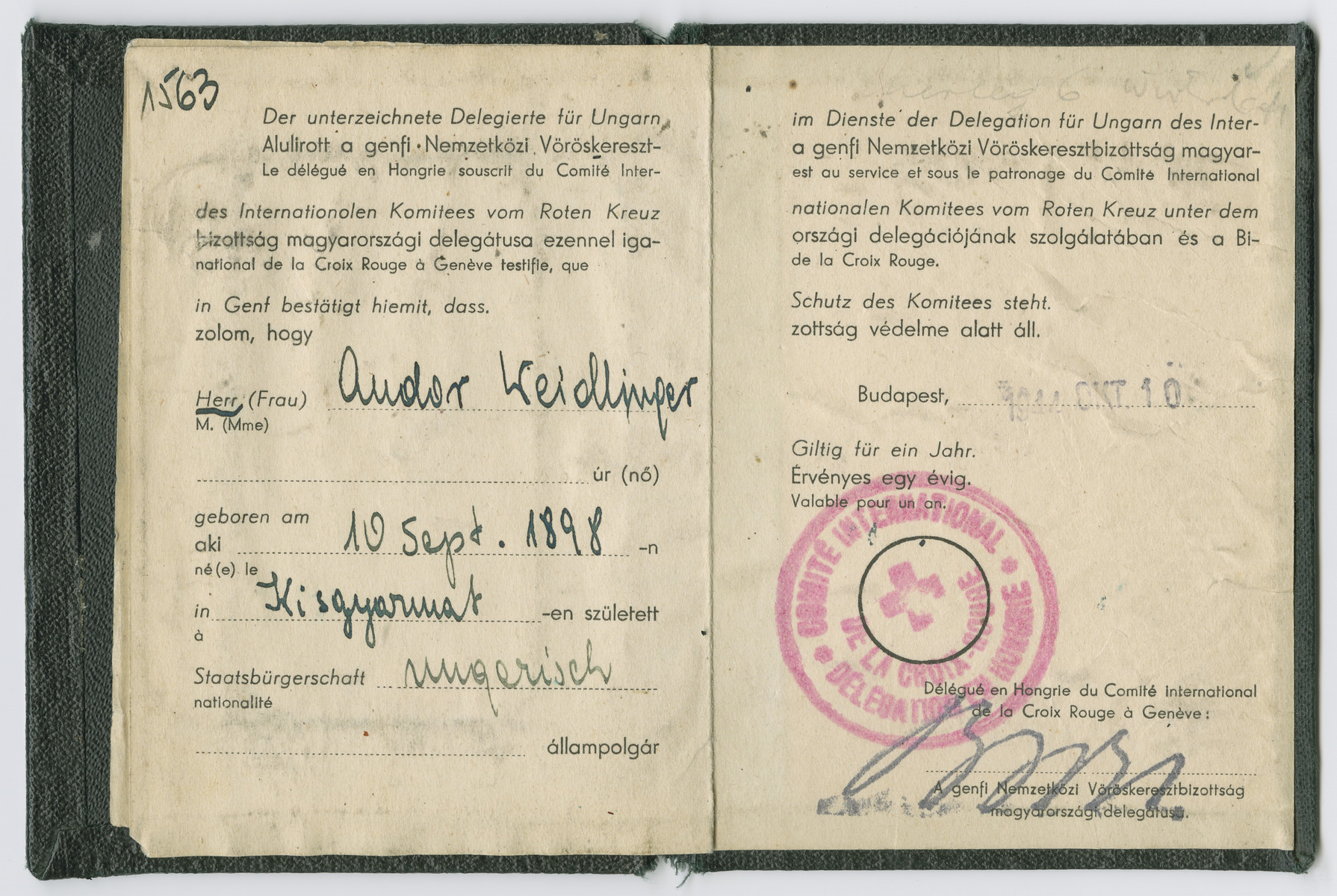 Interior page of an identification card initially issued to Andor Weidlinger by the Swiss Red Cross and then reissued by Soviet authorities.