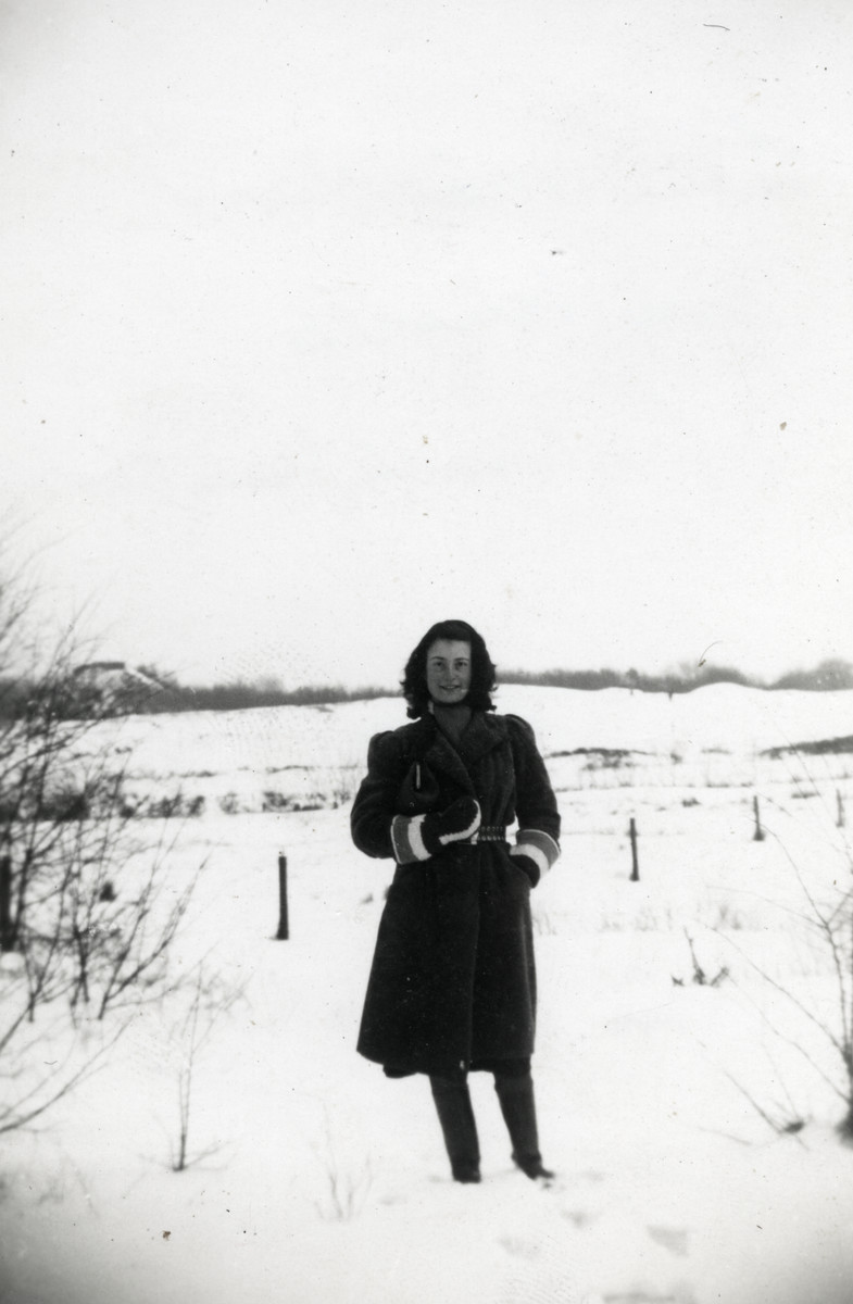 Photograph of Ellis Cohen-Paraira standing in the snow taken by her then boyfriend Bernie Spier.