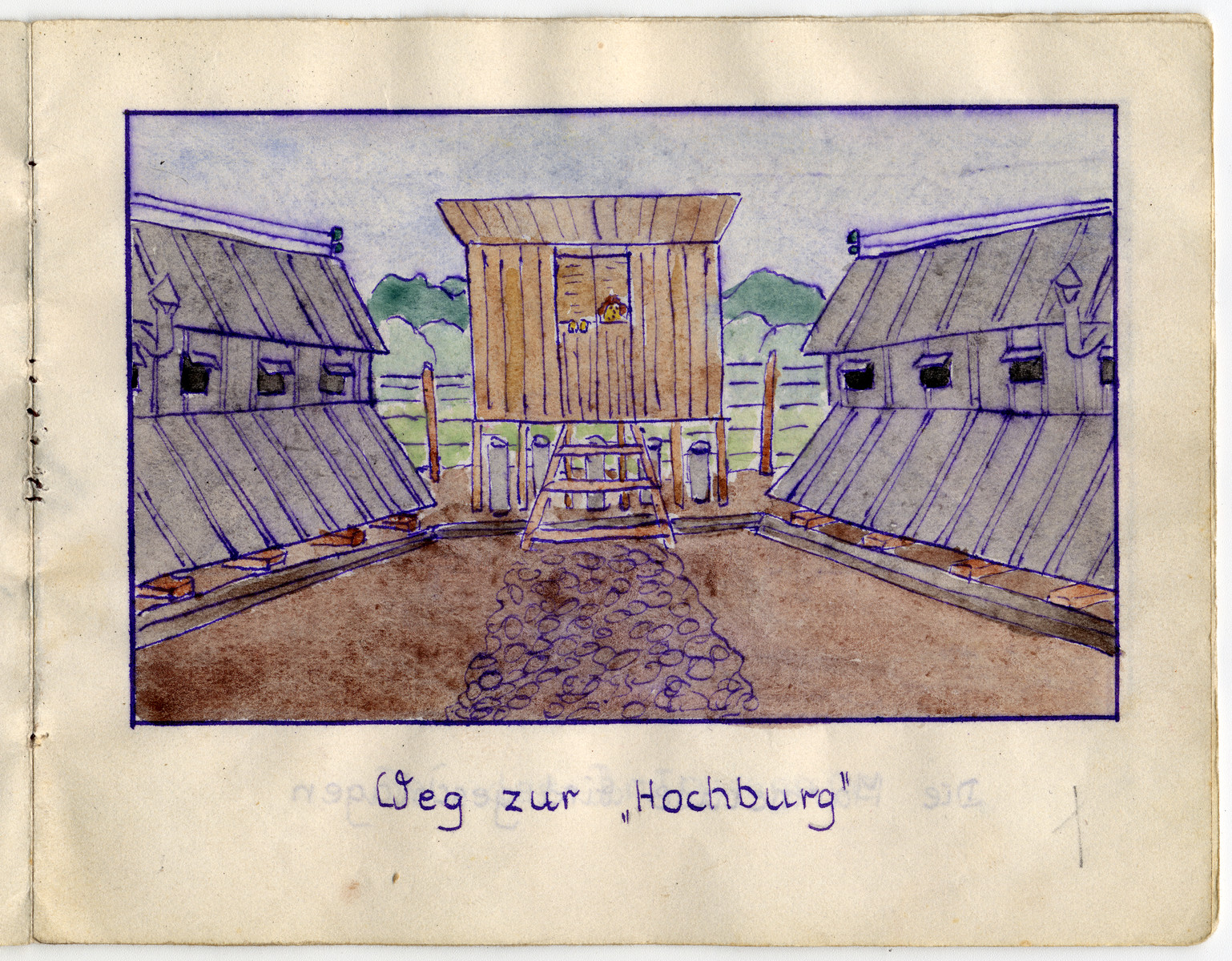 "Page from the memoirs of Camp de Gurs illustrated by Eva Liebhold.  This page is entitled  ""The way to Hochburg."""