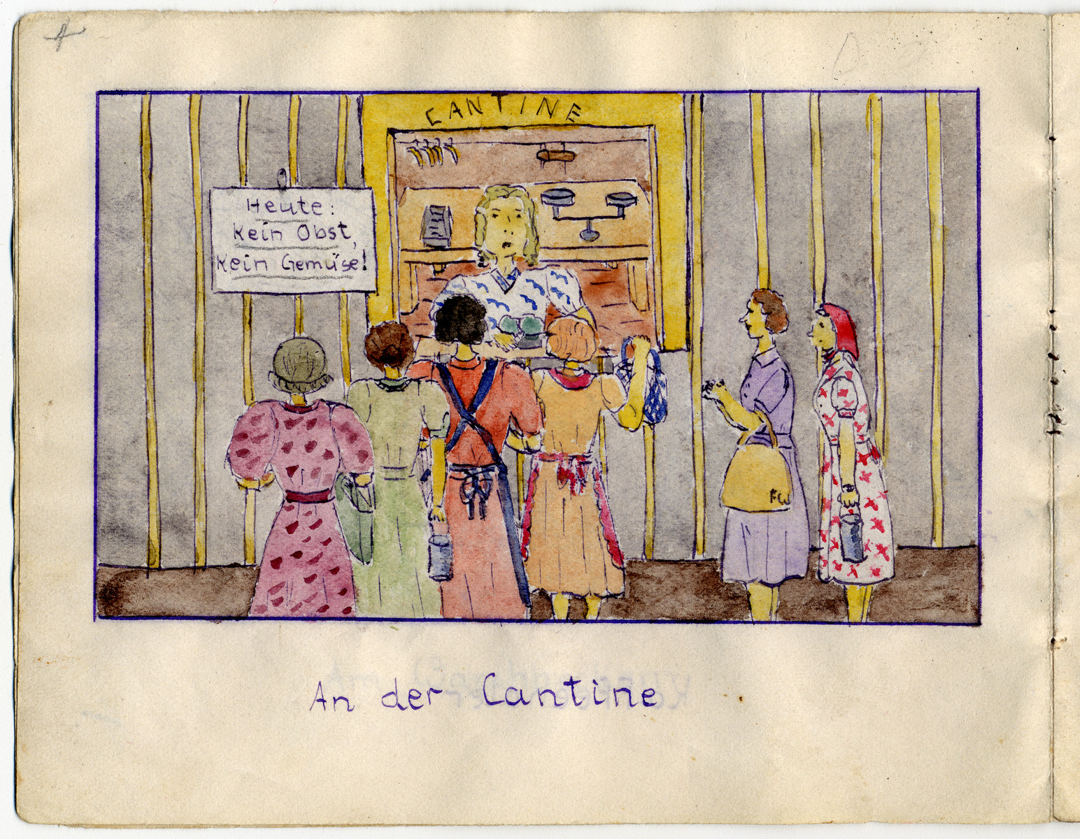 "Page from the memoirs of Camp de Gurs illustrated by Eva Liebhold.  This page is entitled ""At the Cantine."""