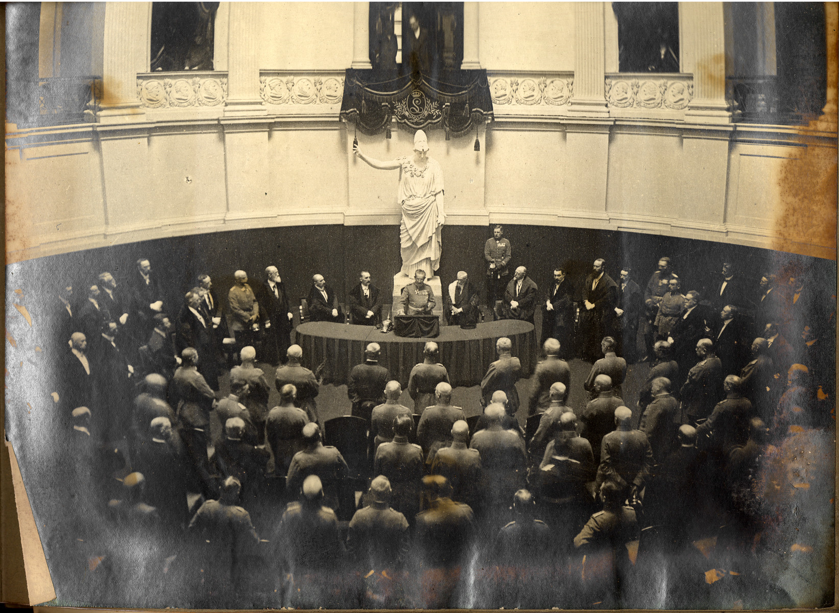 General von Bissing, the Governor General of German occupied Belgium, is photographed at center during a ceremony at the newly founded von Bissing University in Ghent.