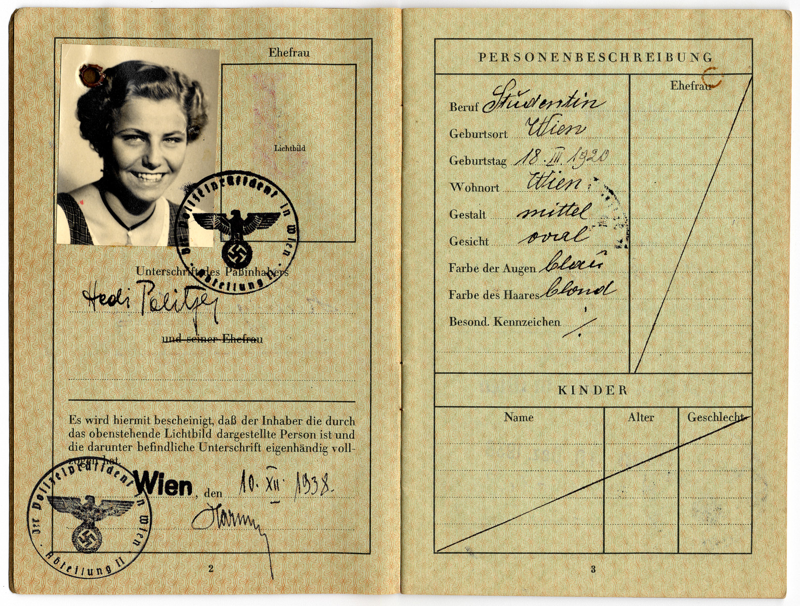 Passport issued to Hedi Politzer and stamped with a Nazi stamp.