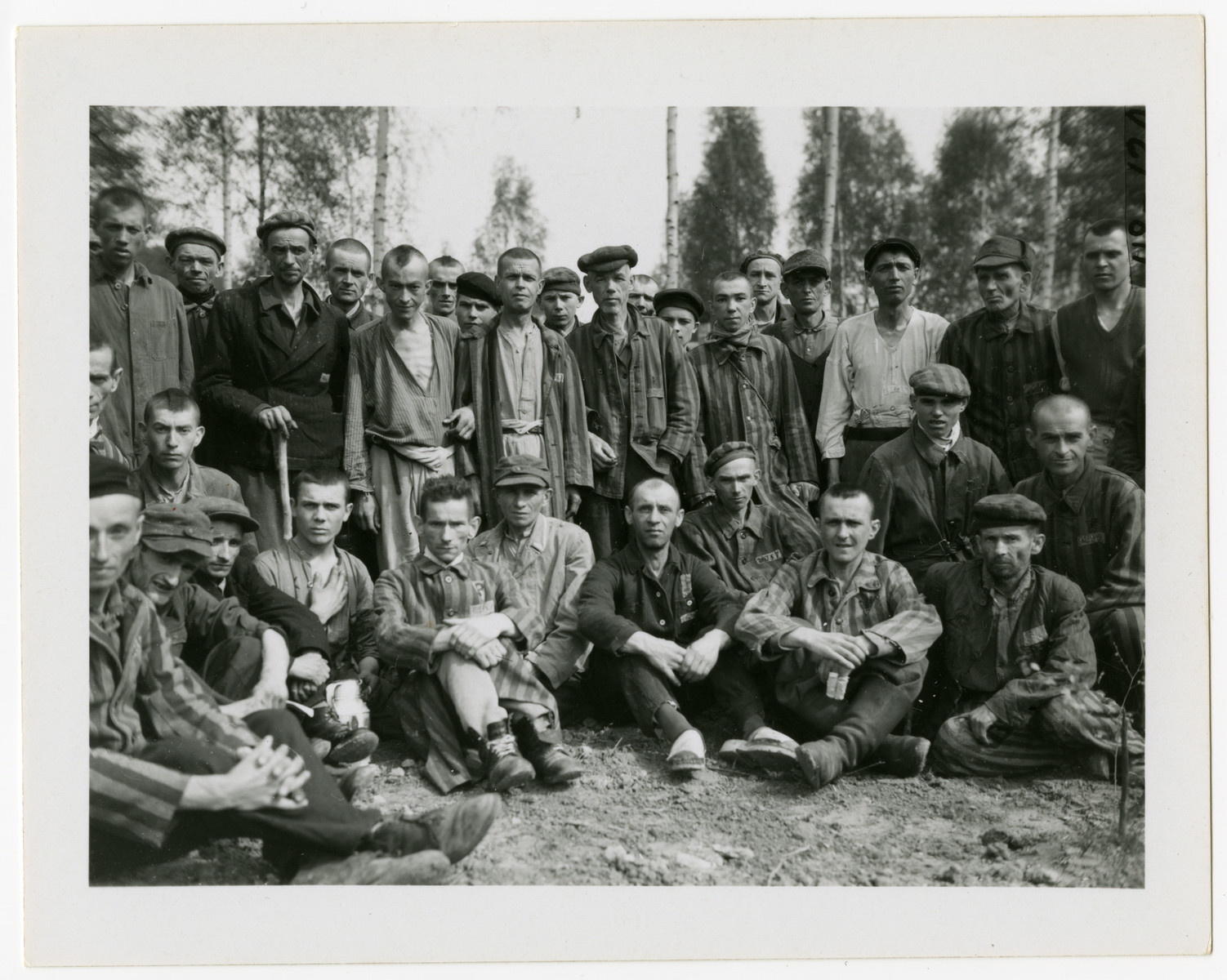 A large group of male survivors in the Langenstein-Zwieberge concentration camp gather outside.