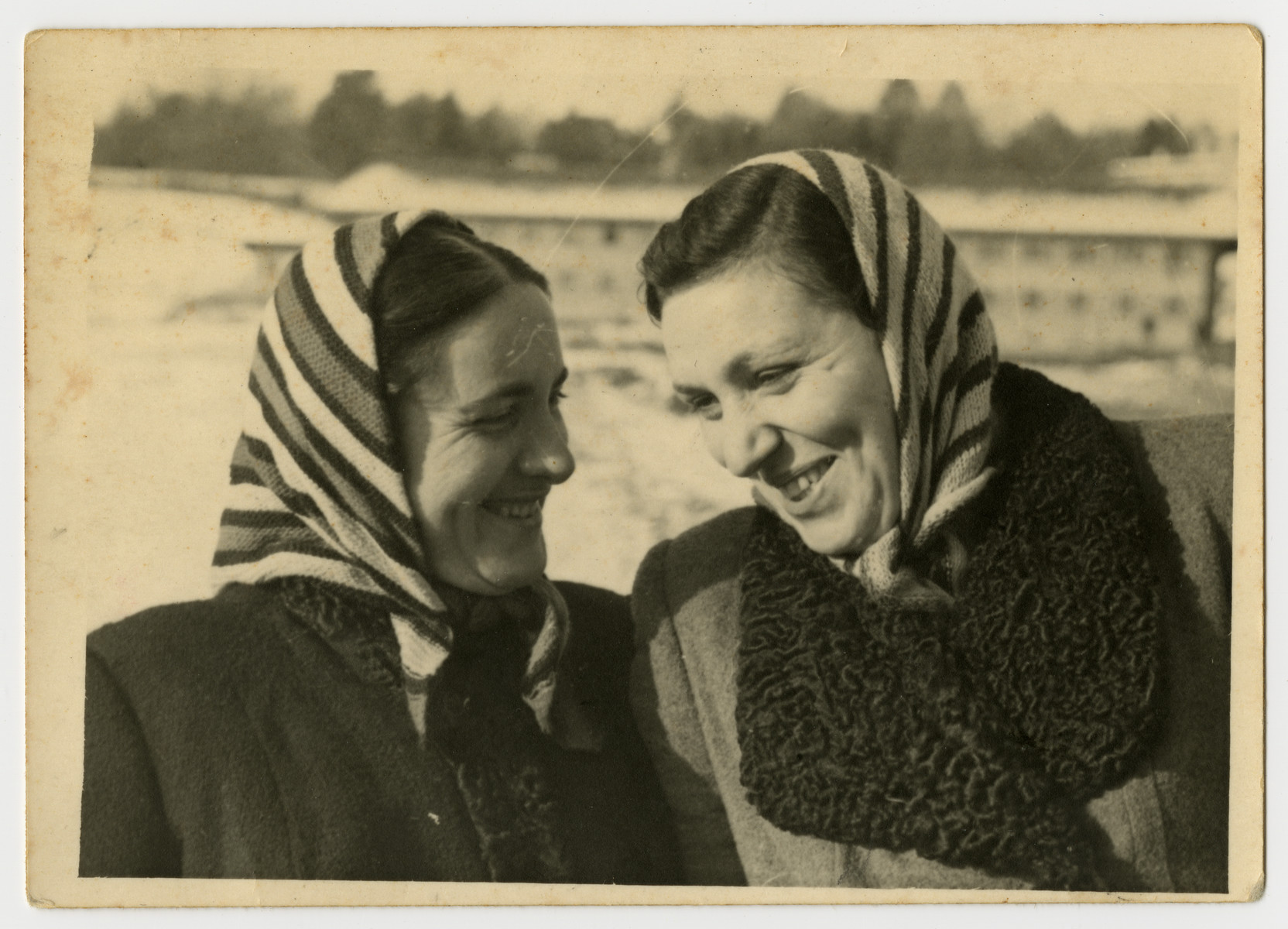 Close-up portrait of Jenta (Helen) Shapiro (left) and her friend Mira Salberg.    The two women traveled together after liberation to look for their families.