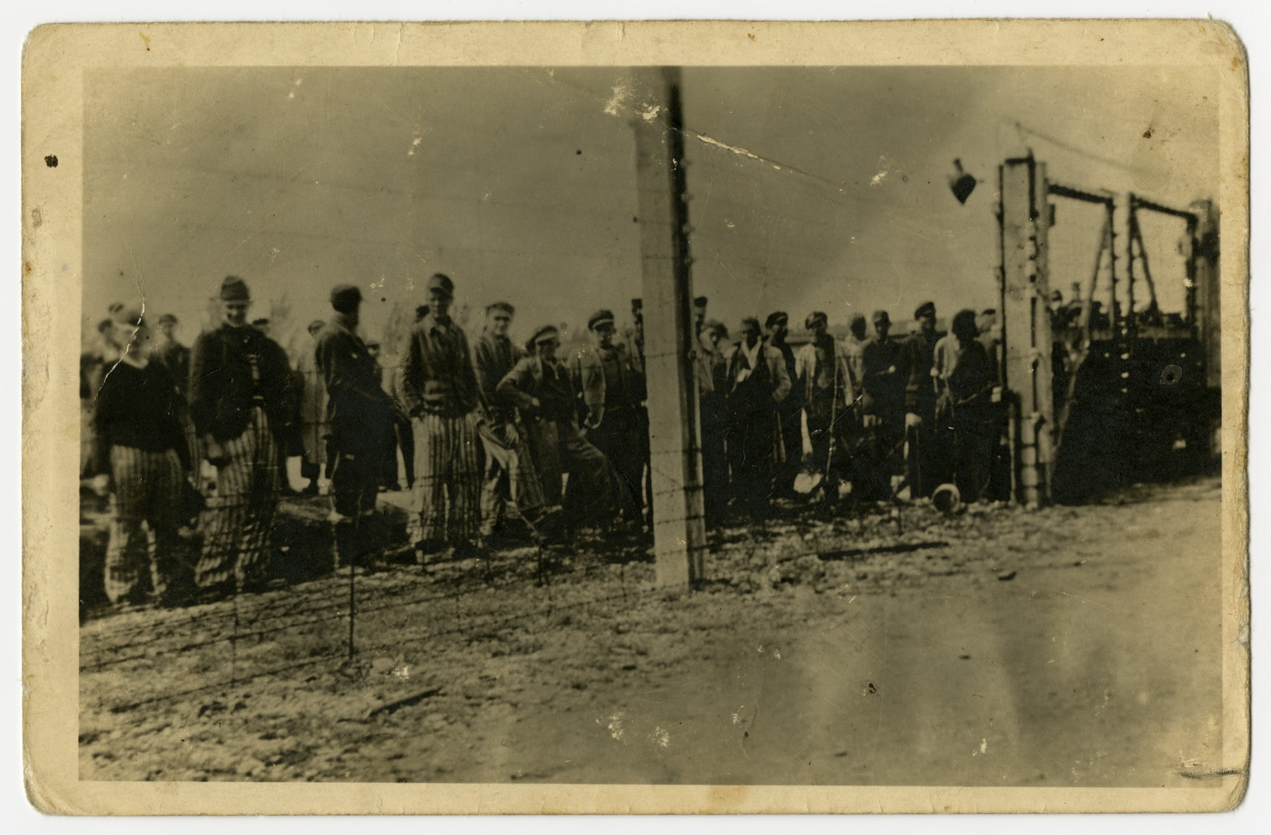 A group of prisoners in uniform stand behind a barbed wire fence [probably in the Dachau concentration camp].    Survivor Leo Sadinsky found this photograph in the possession of a dead German soldier.