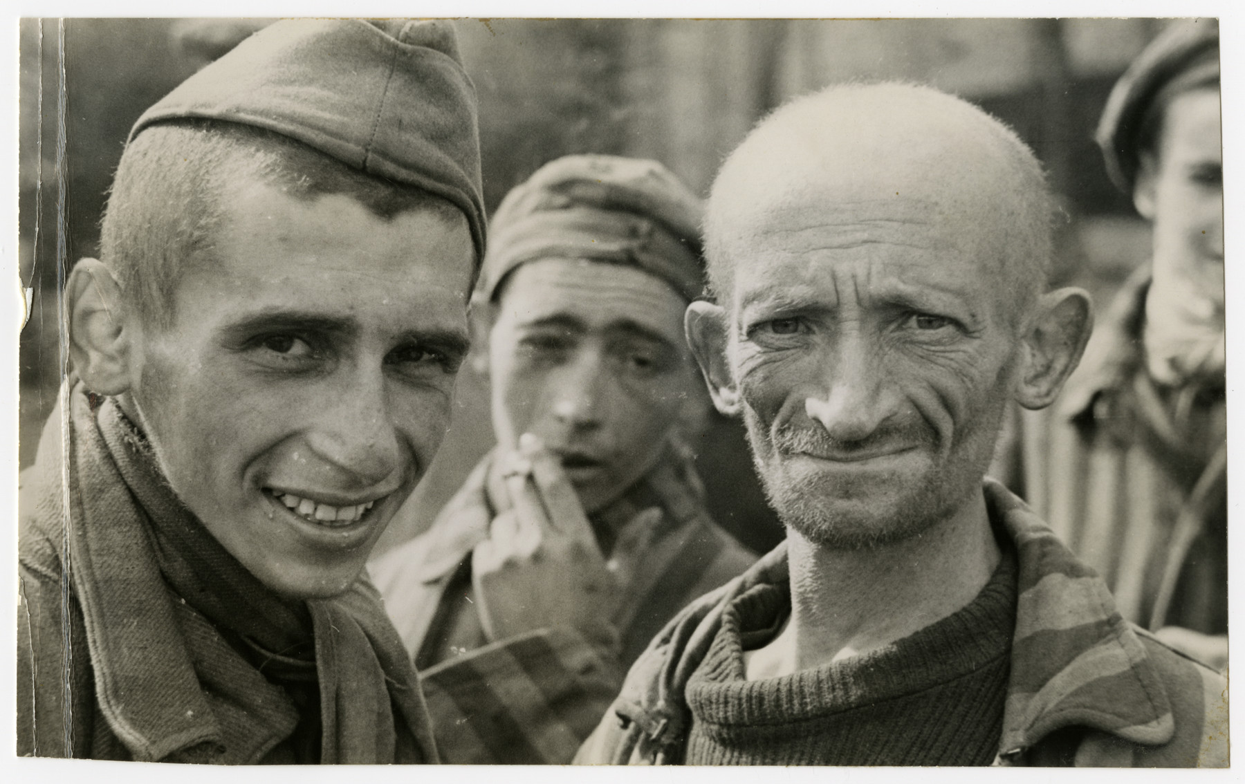 Survivors in Langenstein-Zwieberge, a sub-camp of Buchenwald soon after liberation.
