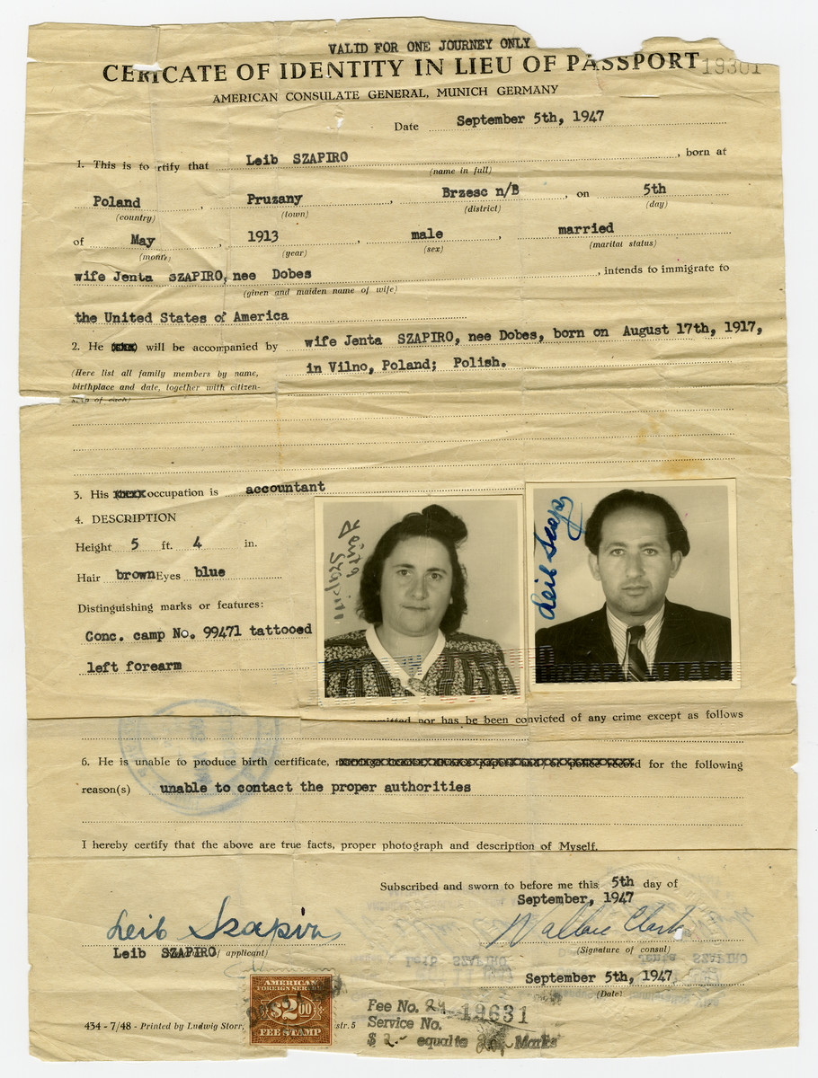 Certificate Of Identity In Lieu Of Passport Issued To Leib And Jenta