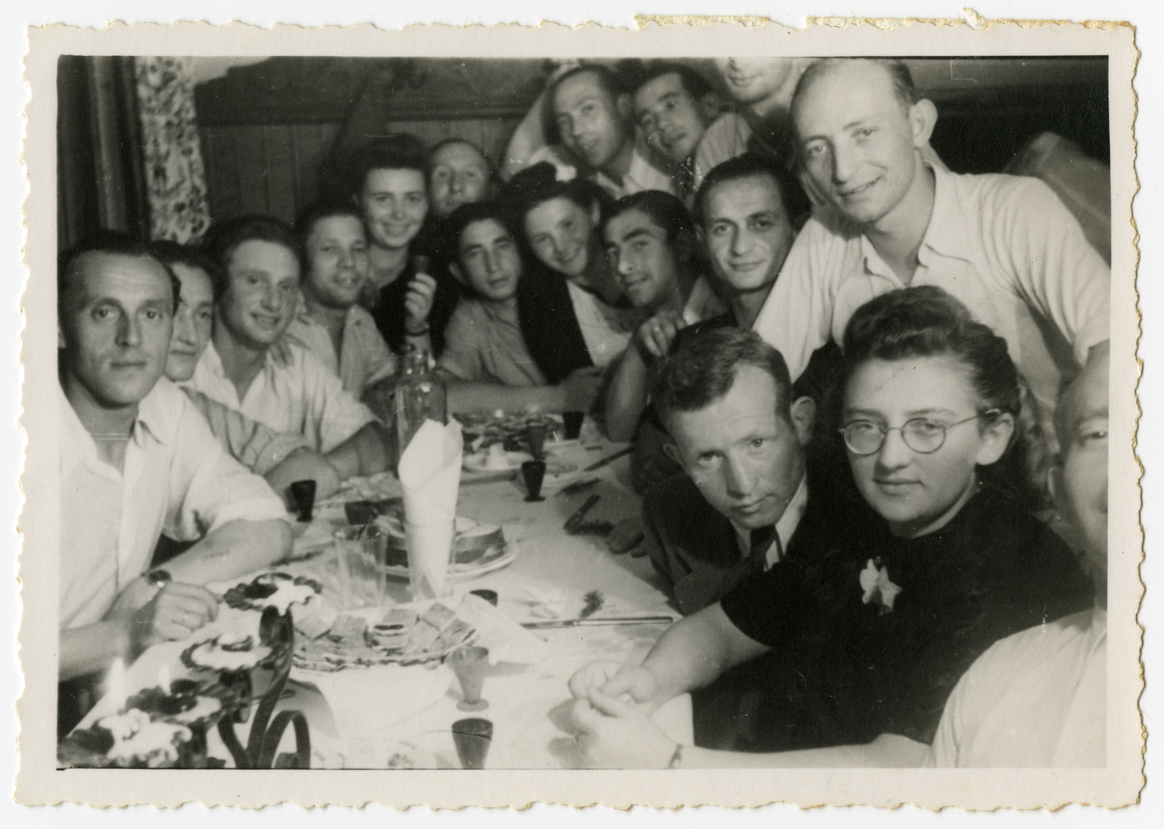 Jewish DPs gather for a celebration in the Landsberg camp.