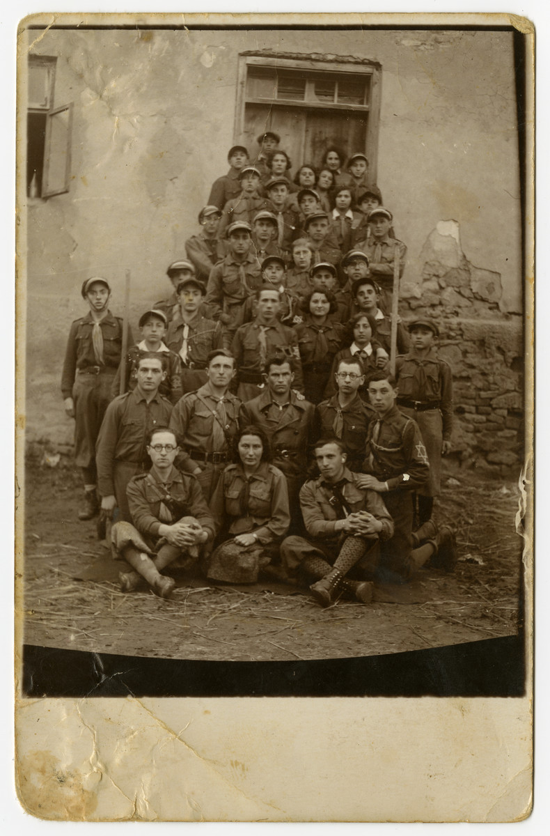 Group portrait of members of Hanoar Hazioni in prewar Dzialoszyce.