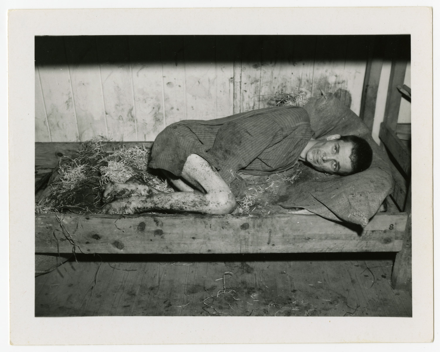 A survivor lies on a straw strewn bottom bunk in a barrack of the Langenstein-Zwieberge concentration camp.