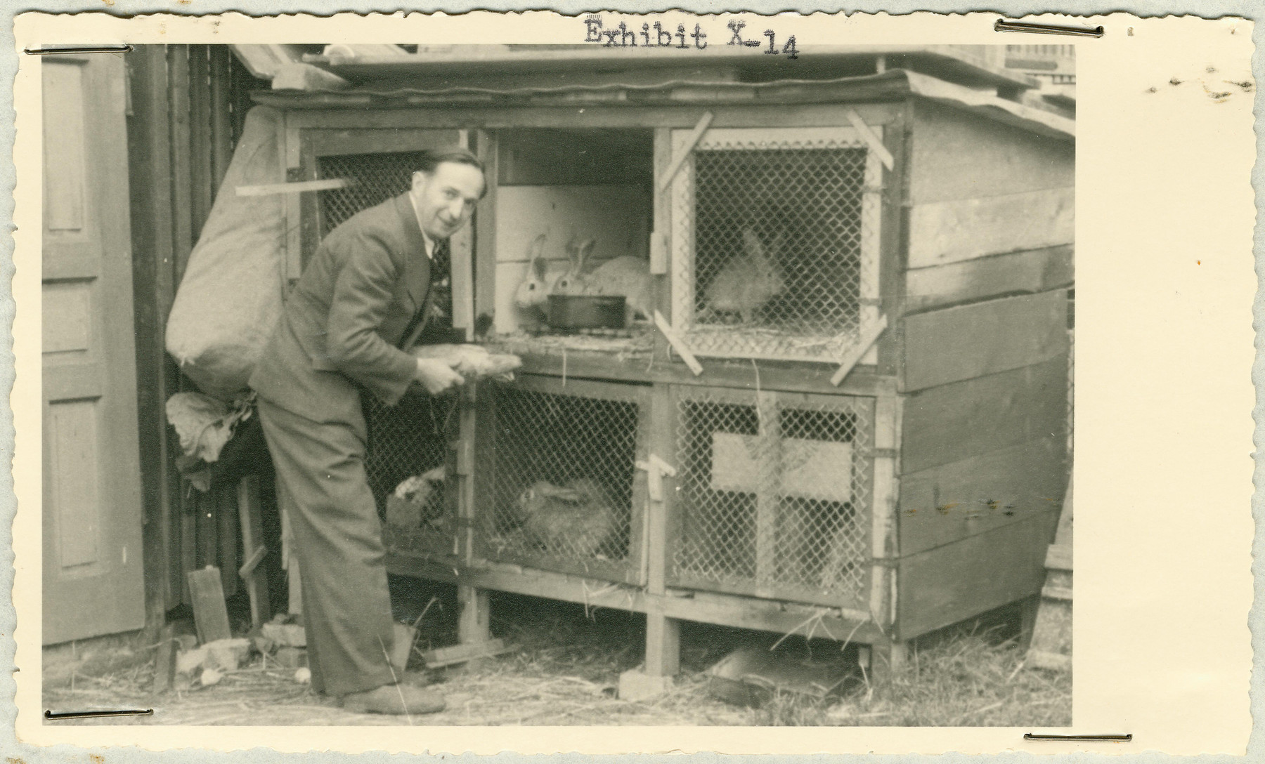 Either a staff member or patient tends rabbits kept in a hutch at the Hartheim euthanasia facility.