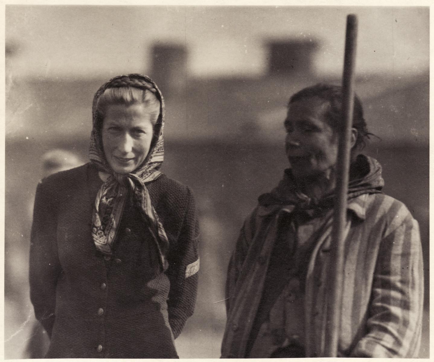 Close-up portrait of two female survivors of the Bergen-Belsen concentration camp.