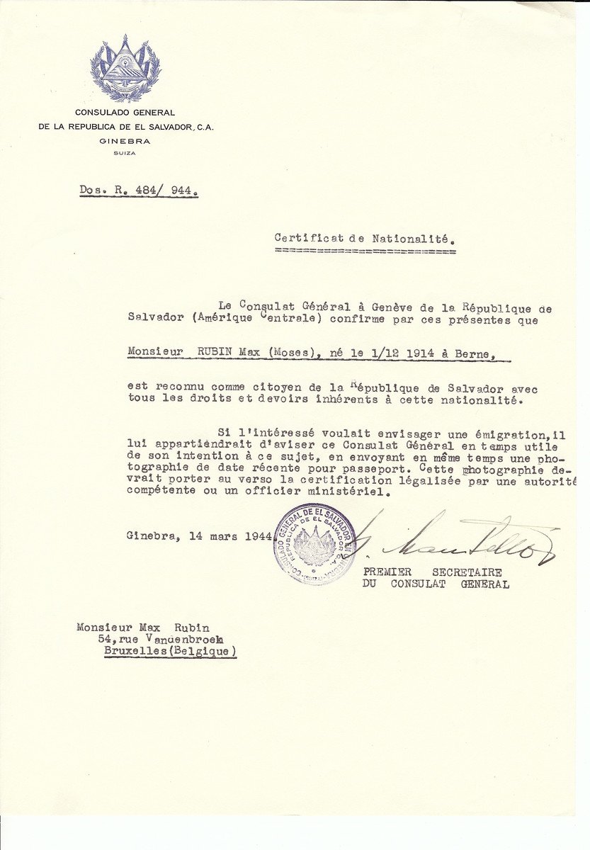 Unauthorized Salvadoran citizenship certificate issued to Max (Moses) Rubin (b. December 1, 1914 in Berne) by George Mandel-Mantello, First Secretary of the Salvadoran Consulate in Switzerland and sent to his residence in Brussels
